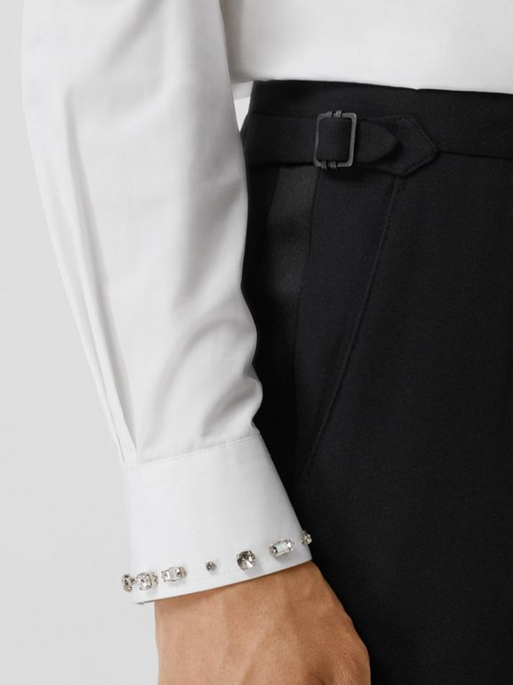 Classic Fit Silk Trim Wool Tailored Trousers in Black - Men | Burberry - cell image 1