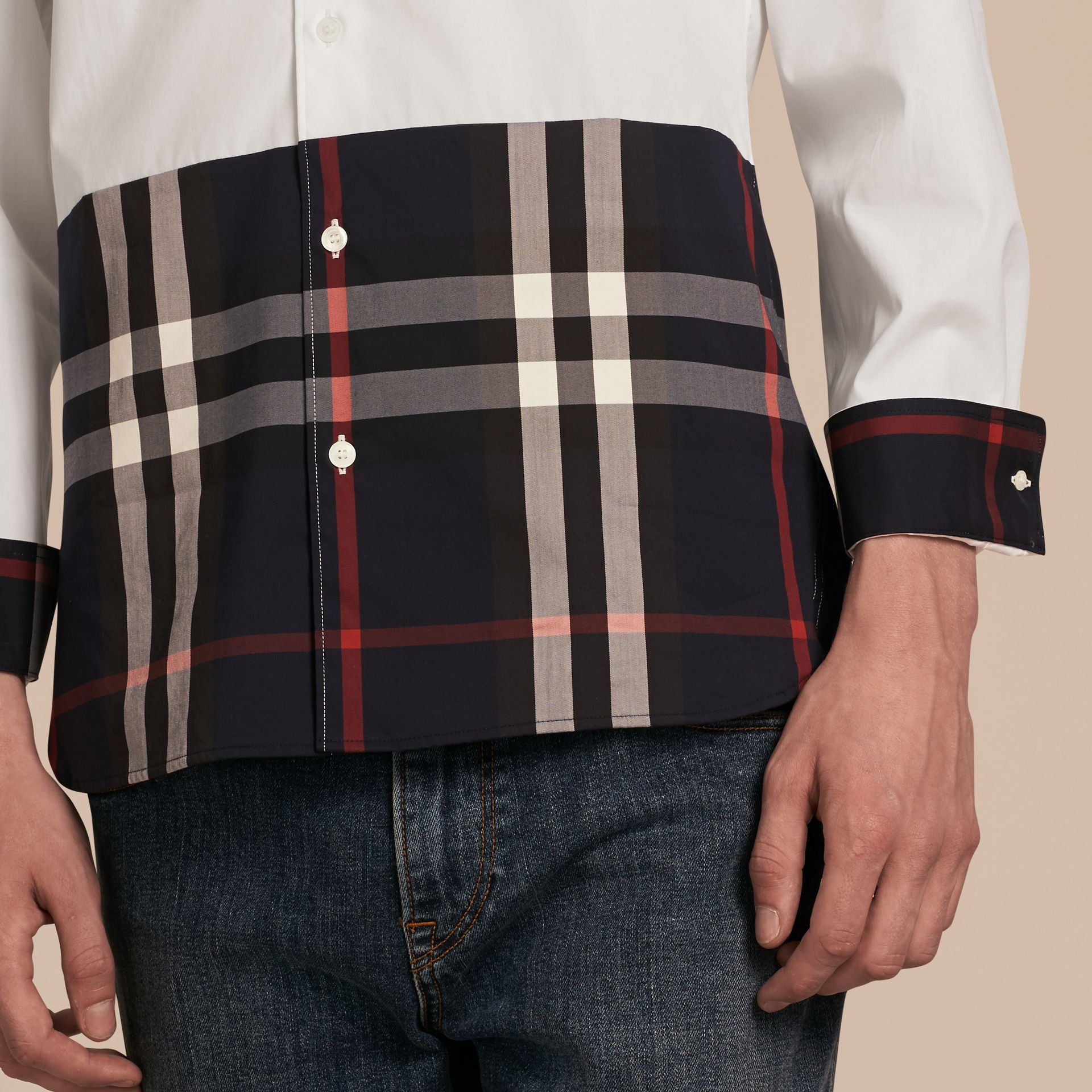 White Check Panel Stretch-Cotton Poplin Shirt White - gallery image 5