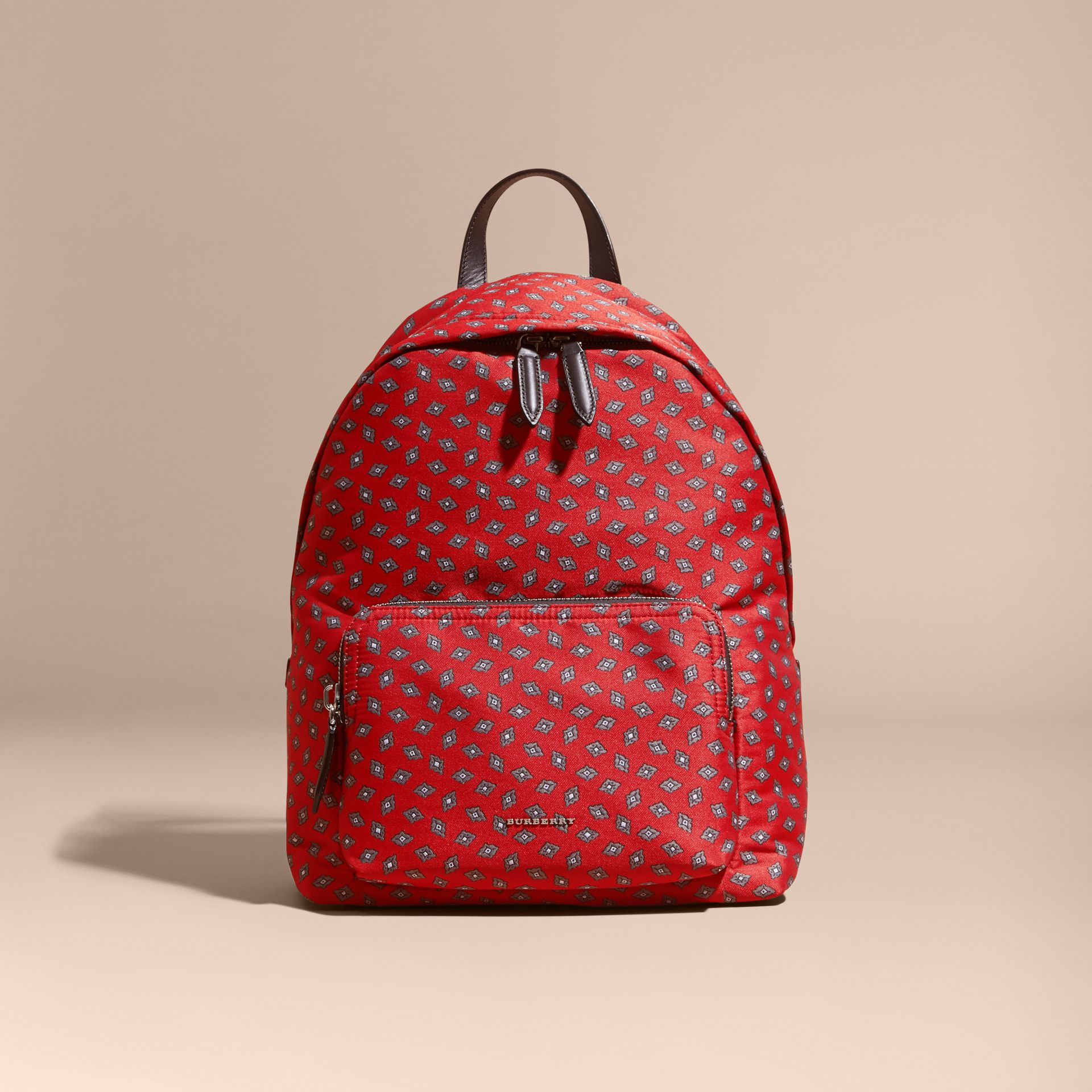 Military red Leather Trim Abstract Jacquard Backpack Military Red - gallery image 8