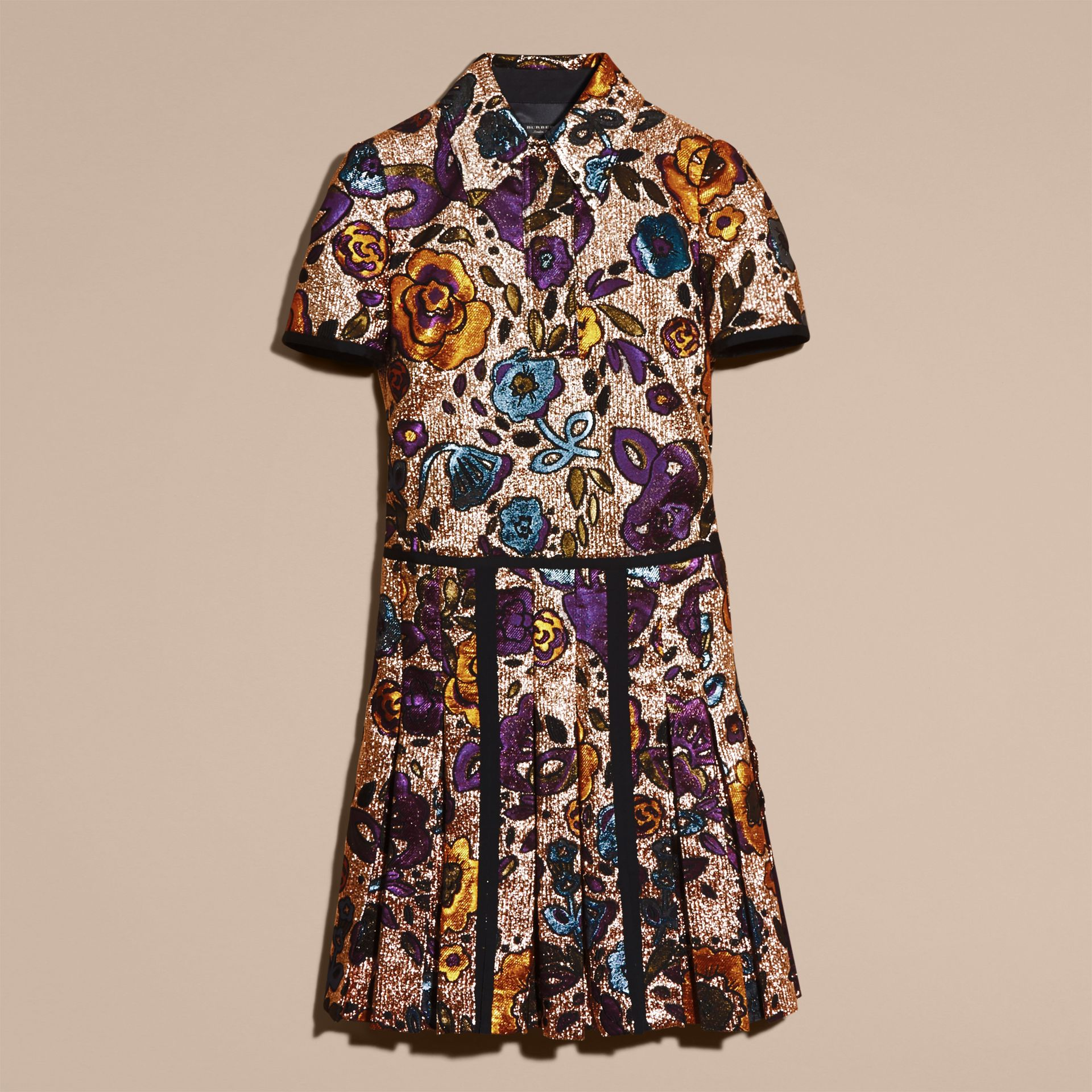 Copper rose Metallic Floral Jacquard Shirt Dress - gallery image 4
