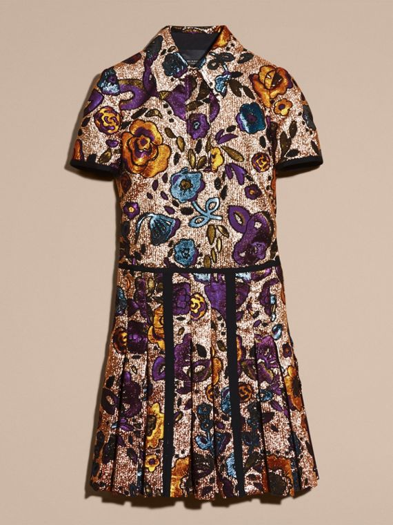 Copper rose Metallic Floral Jacquard Shirt Dress - cell image 3