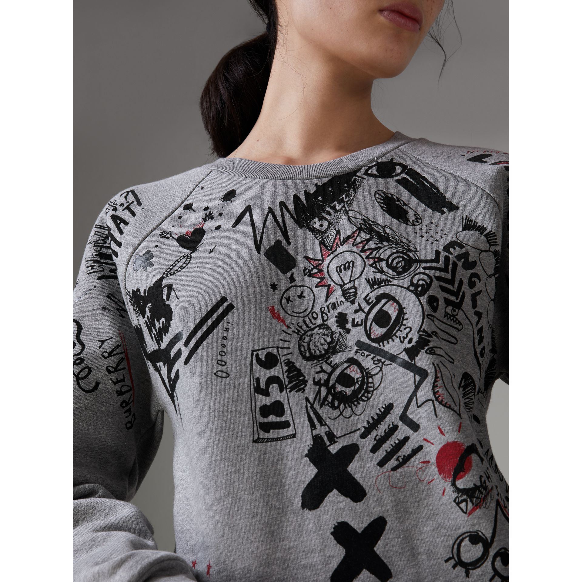 Sketch Print Jersey Sweatshirt in Pale Grey Melange - Women | Burberry Singapore - gallery image 1