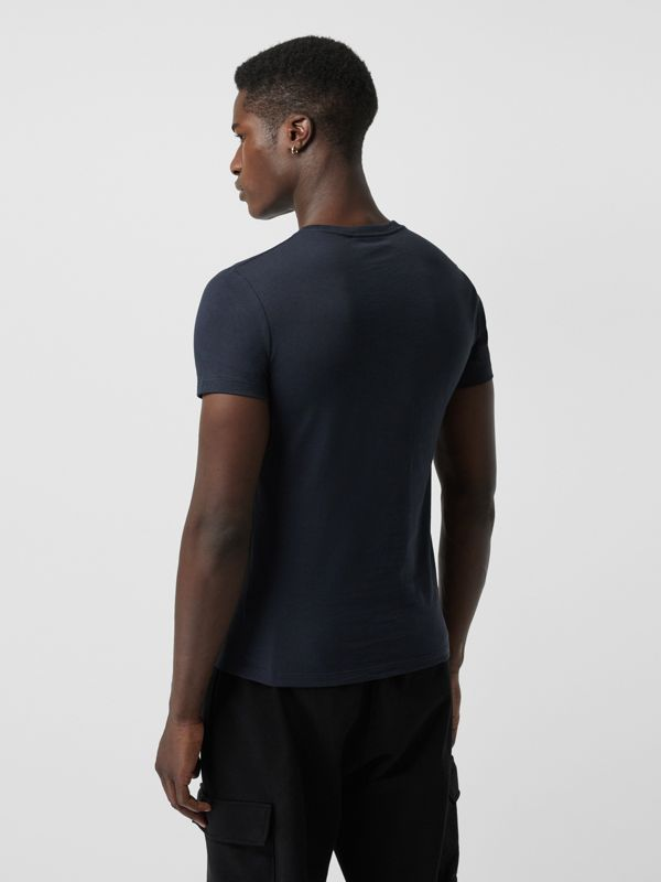 Collage Logo Print Cotton T-shirt in Navy - Men | Burberry - cell image 2