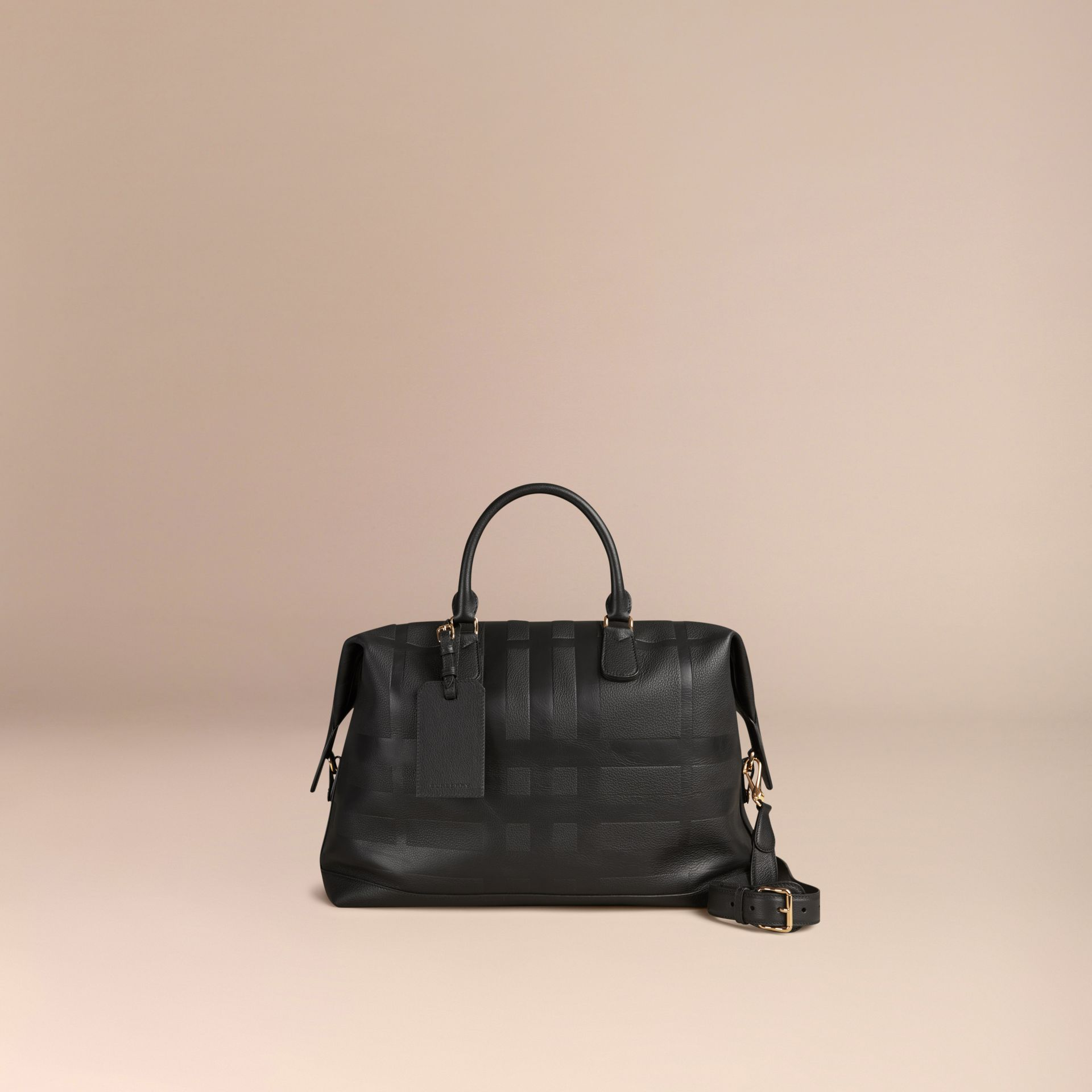 Black Check Embossed Leather Holdall - gallery image 4