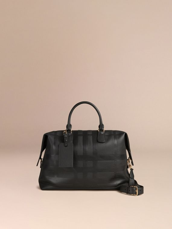 Black Check Embossed Leather Holdall - cell image 3