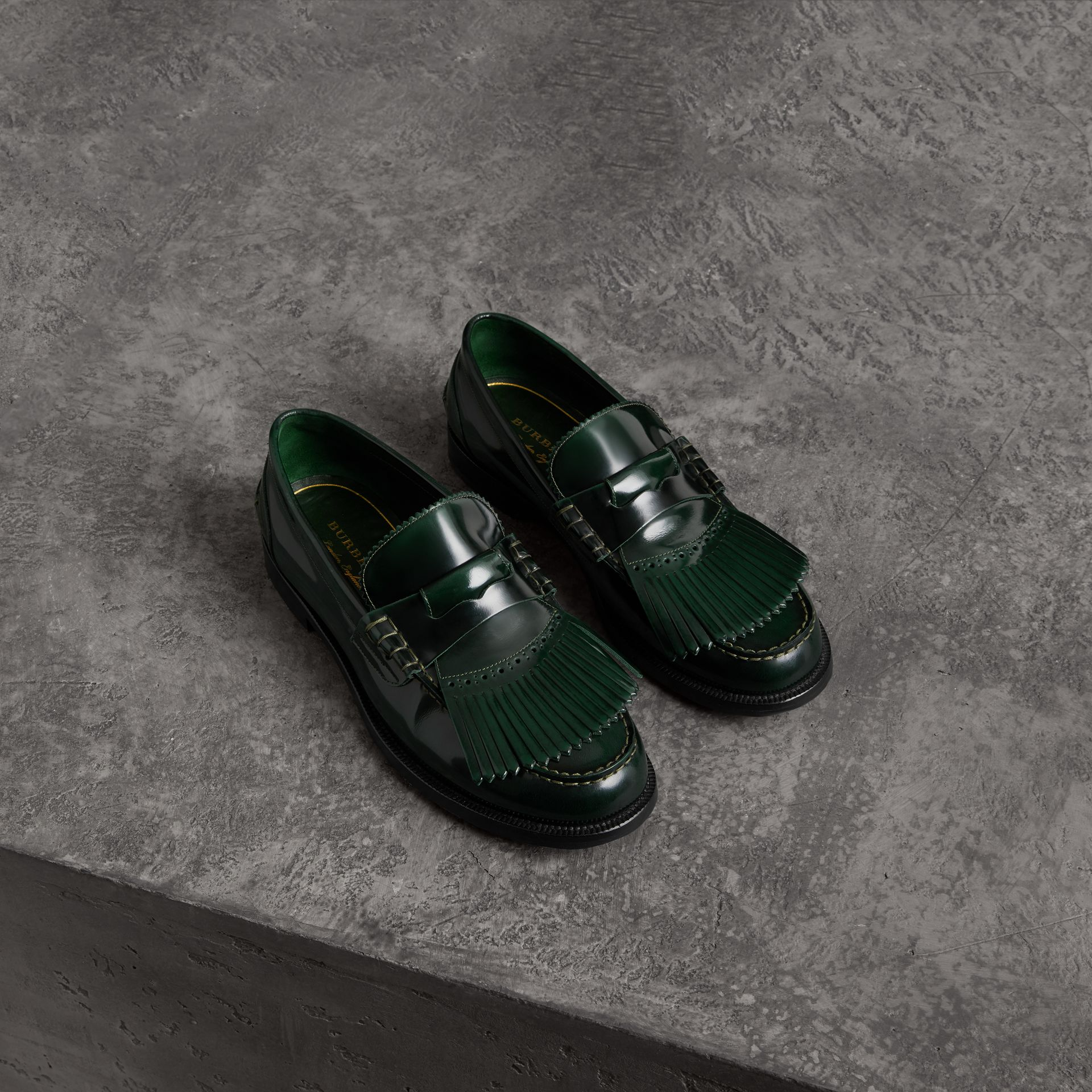 Kiltie Fringe Leather Loafers in Bottle Green - Men | Burberry - gallery image 0