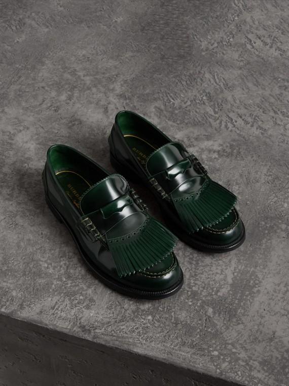 Kiltie Fringe Leather Loafers in Bottle Green