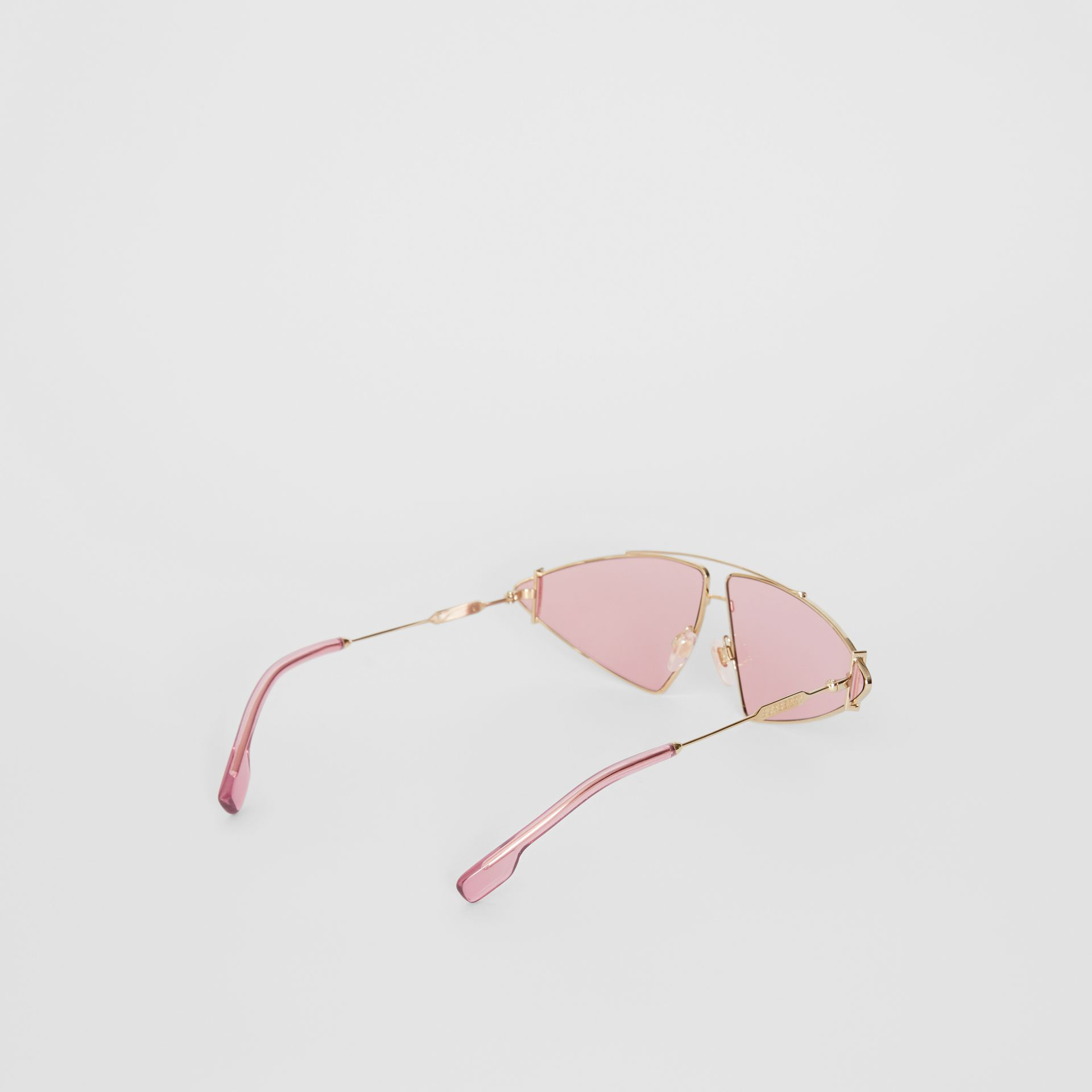 Gold-plated Triangular Frame Sunglasses in Blush Pink - Women | Burberry - gallery image 4