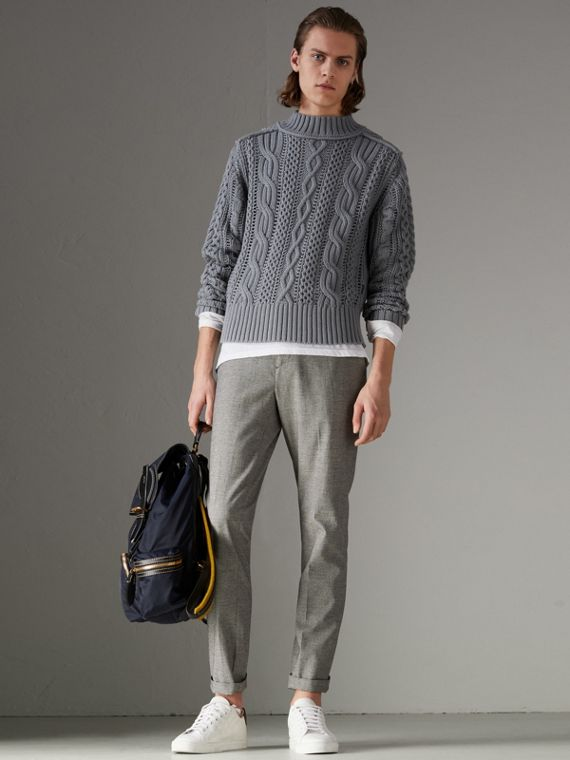 Open-stitch Detail Cable Knit Cotton Cashmere Sweater in Stone Blue