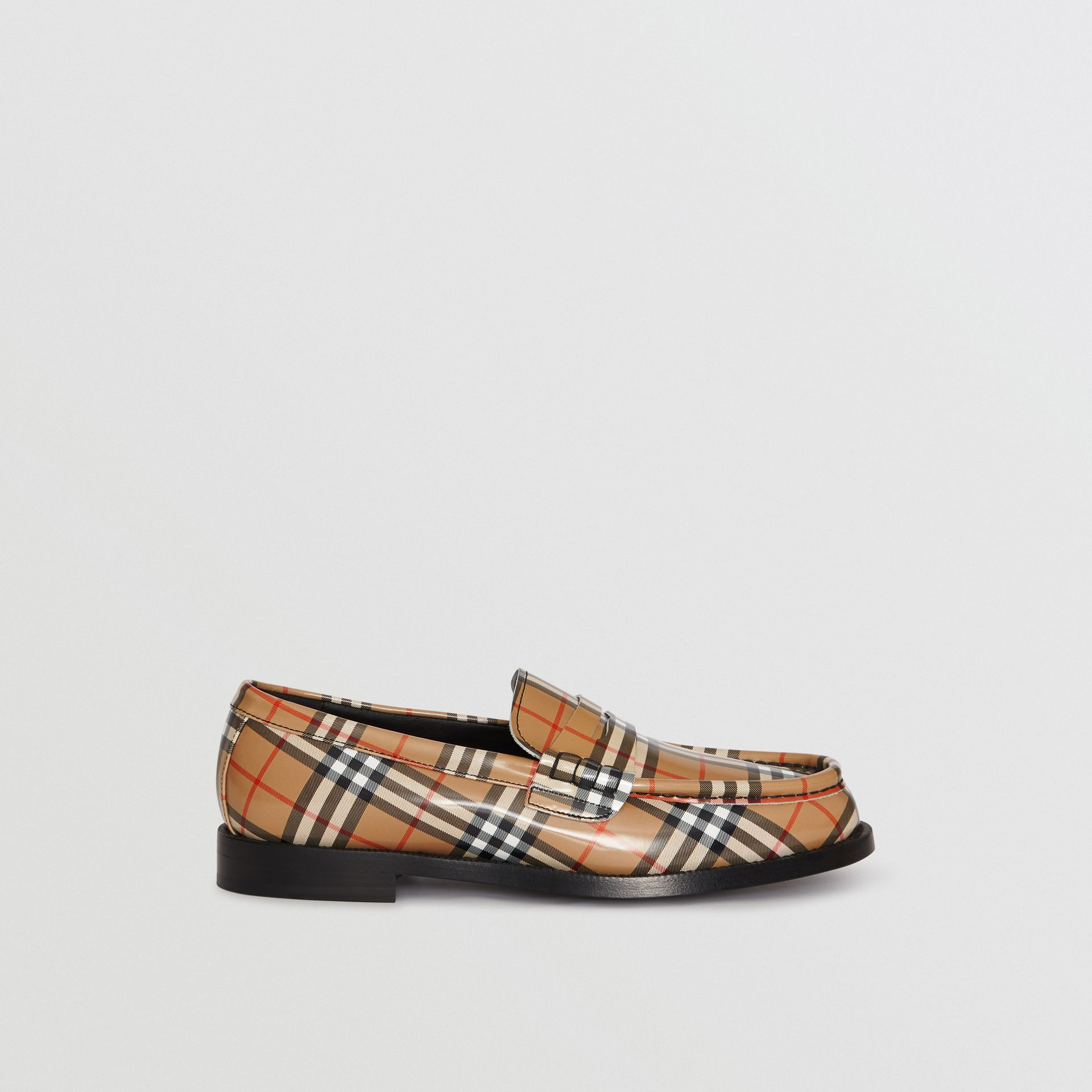 Gosha x Burberry Check Leather Loafers in Antique Yellow - Men | Burberry - gallery image 7