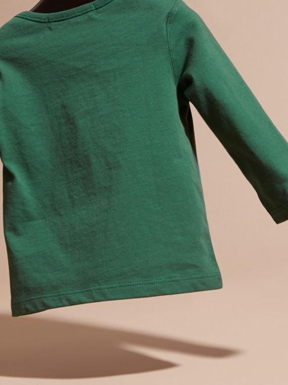 Verde foresta T-shirt a maniche lunghe con tasca con motivo check Verde Foresta - cell image 3