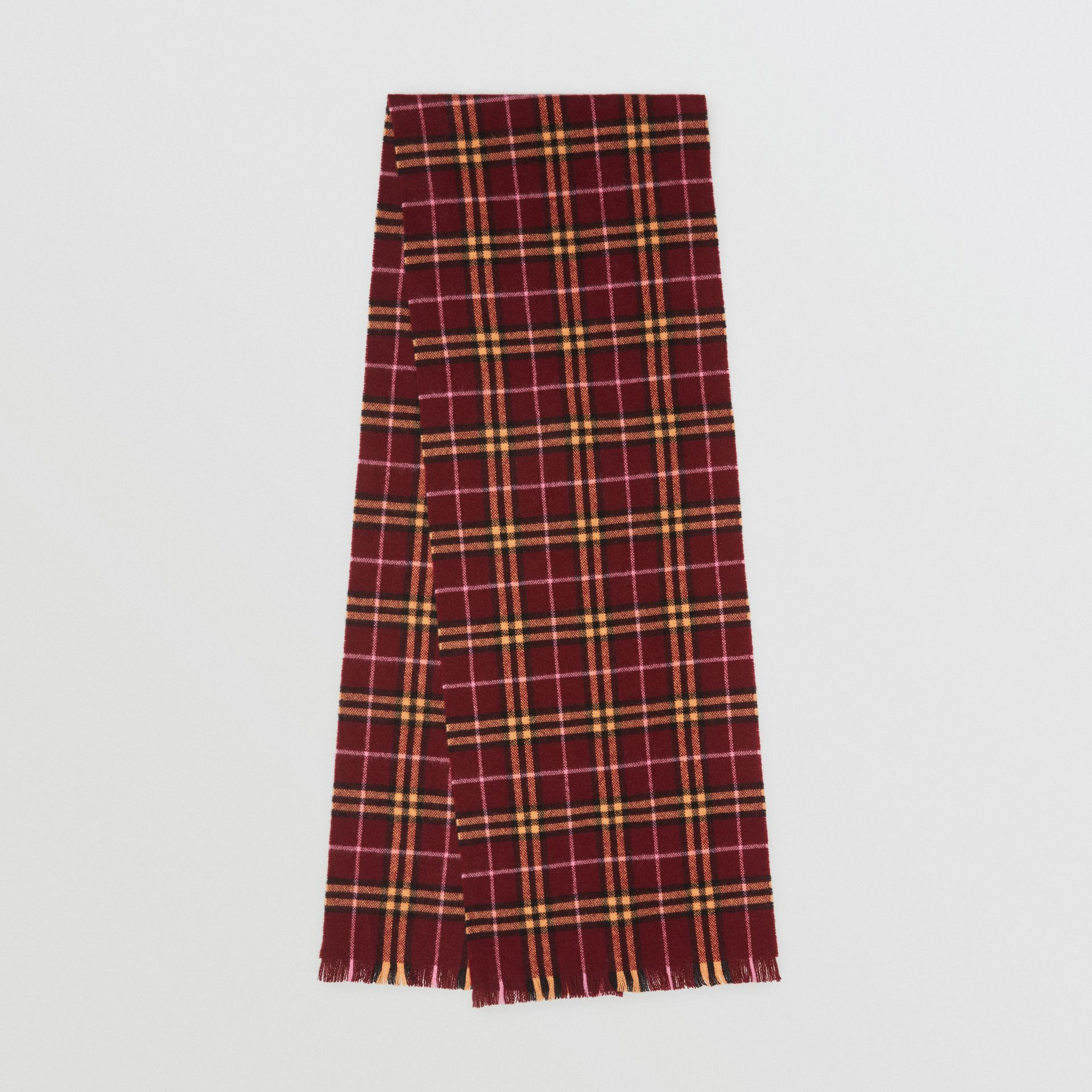 Check Cashmere Scarf in Dark Crimson | Burberry United Kingdom - gallery image 0