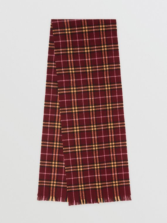 Check Cashmere Scarf in Dark Crimson