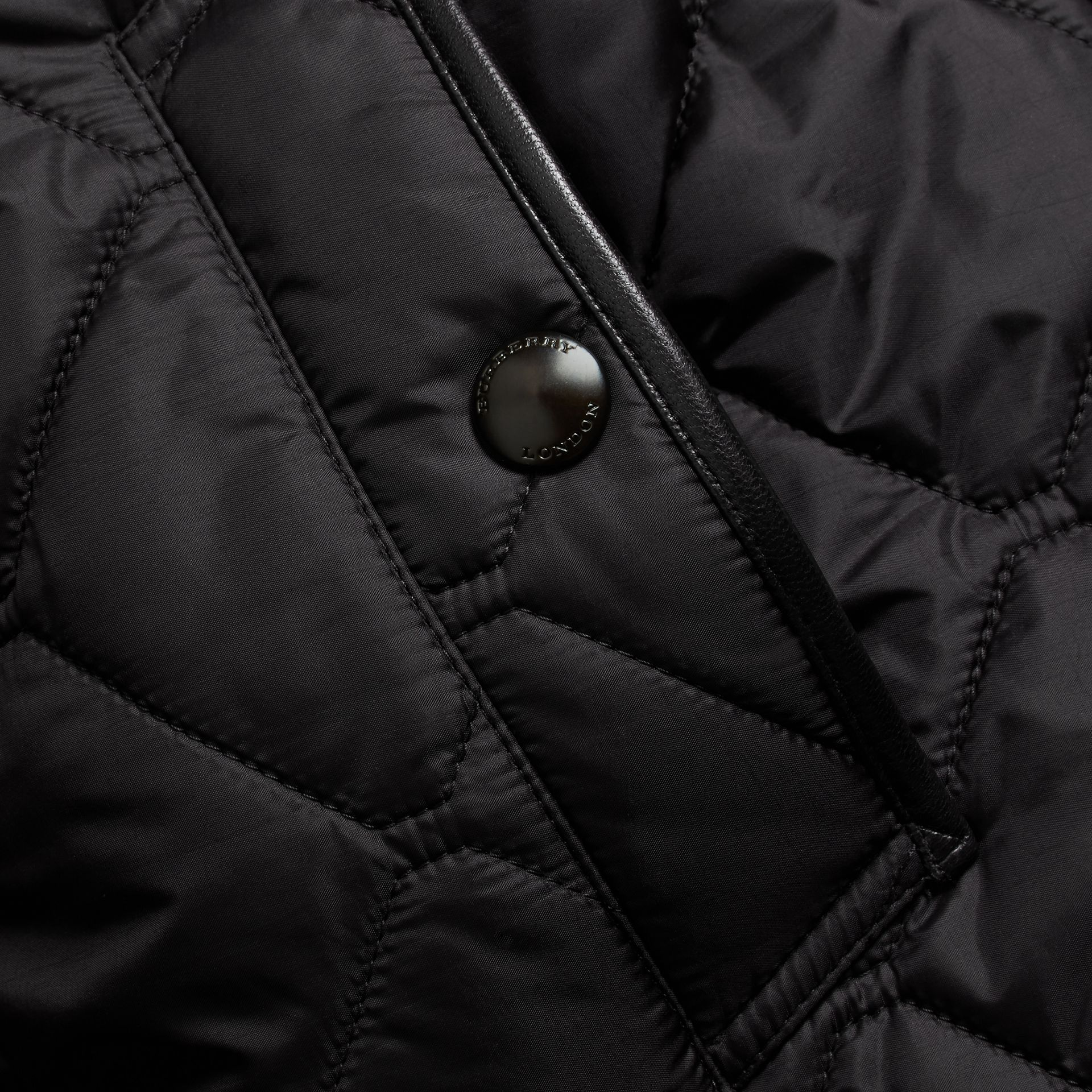 Black Quilted Packaway Hood Jacket - gallery image 2