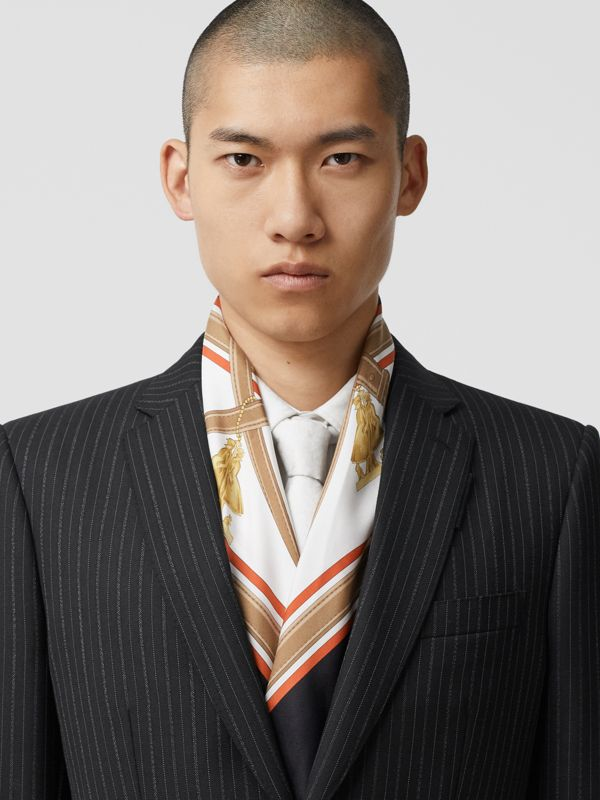 Archive Scarf Print Silk Square Scarf in Black | Burberry United Kingdom - cell image 3