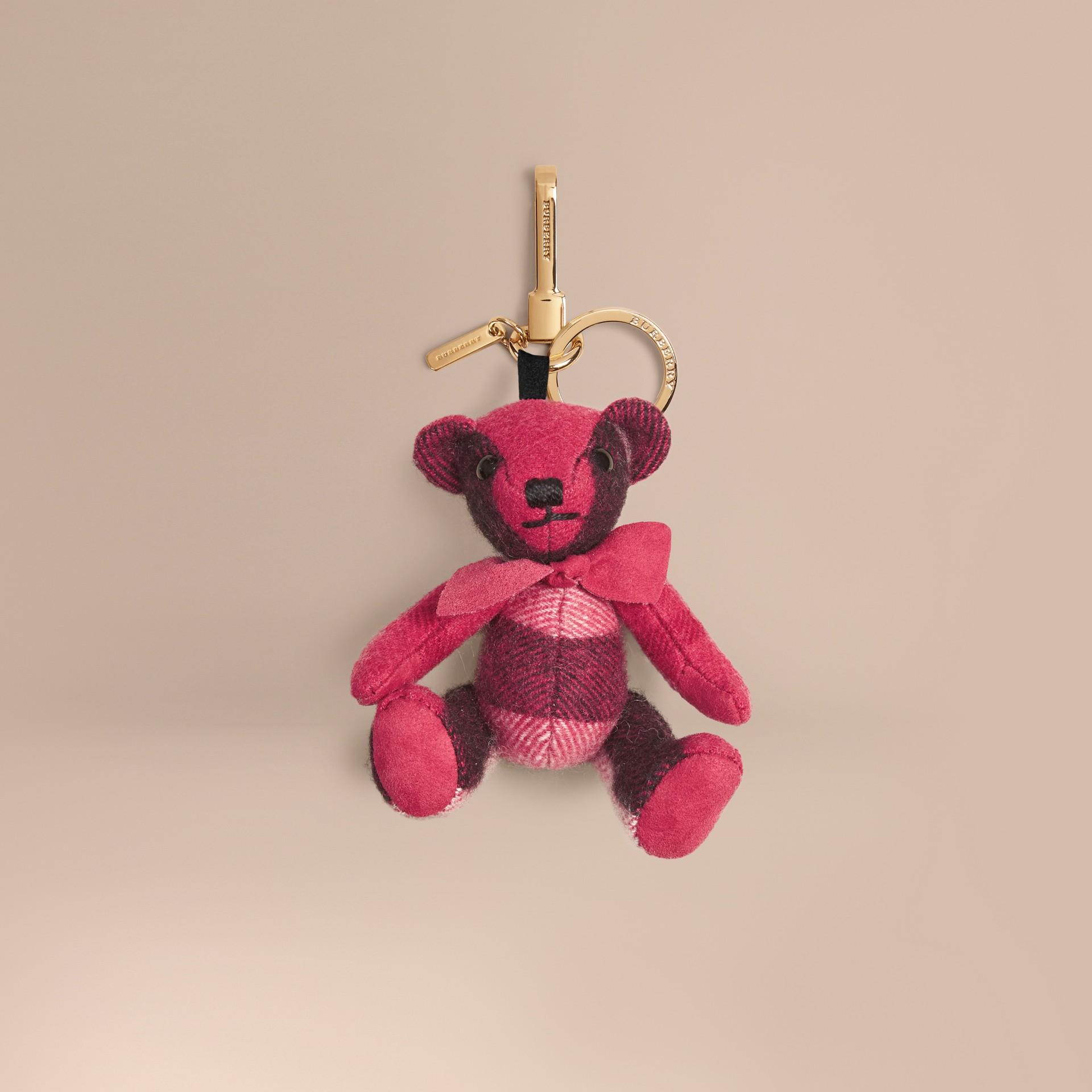 Fuchsia pink Thomas Bear Charm in Check Cashmere Fuchsia Pink - gallery image 1
