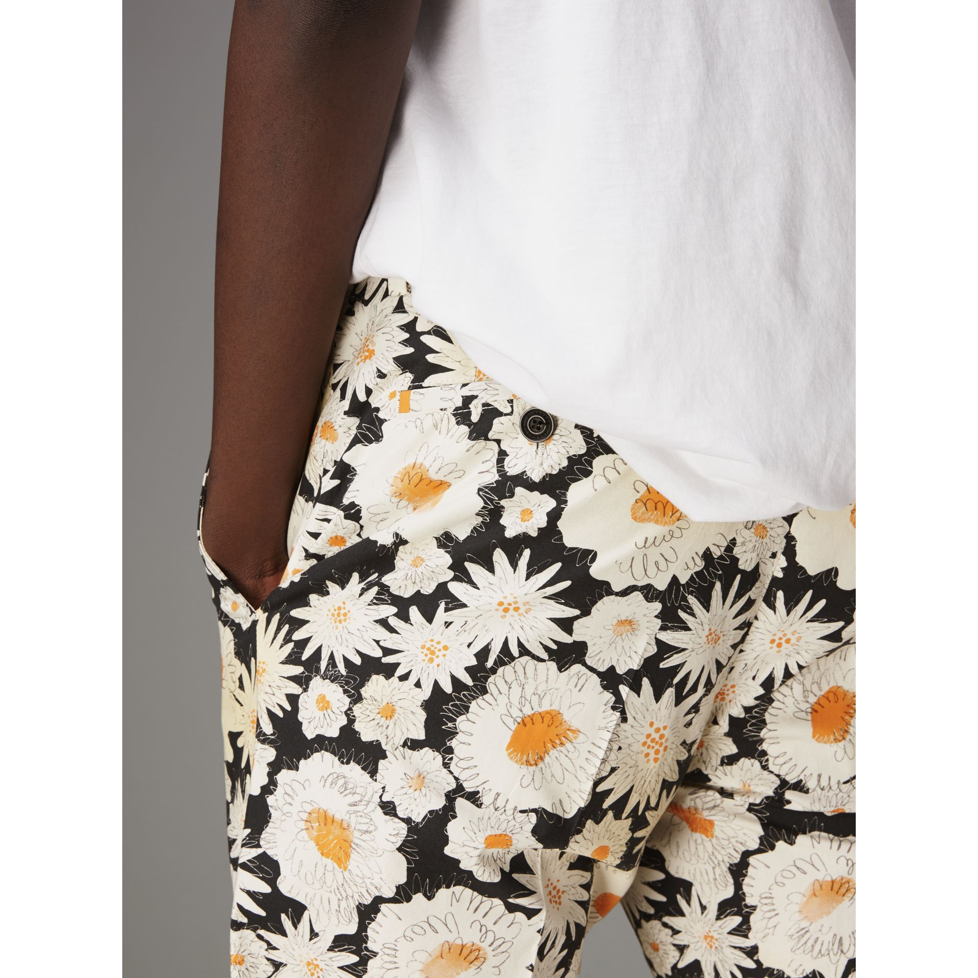 Daisy Print Cotton Tailored Trousers in Black - Men | Burberry - gallery image 1