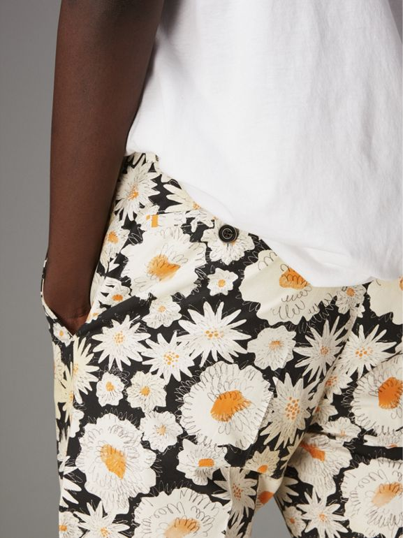 Daisy Print Cotton Tailored Trousers in Black - Men | Burberry Australia - cell image 1