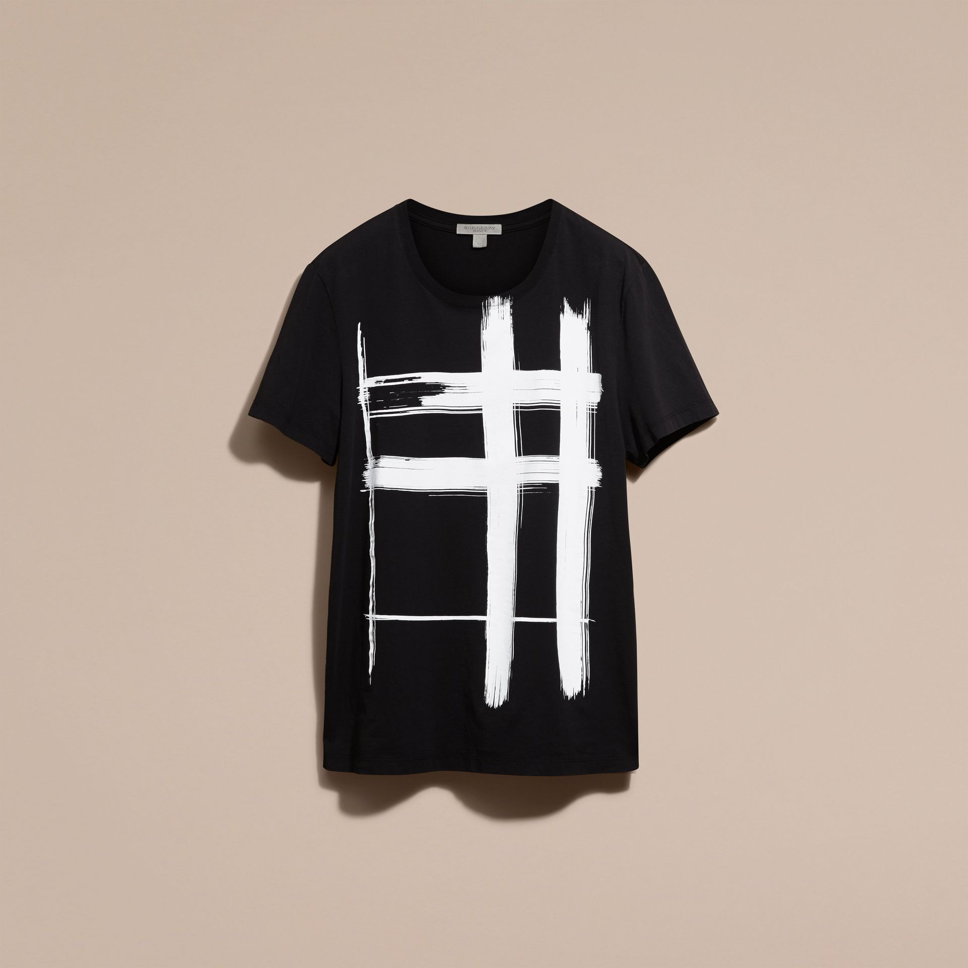 Black Brushstroke Check Print Cotton T-Shirt Black - gallery image 4
