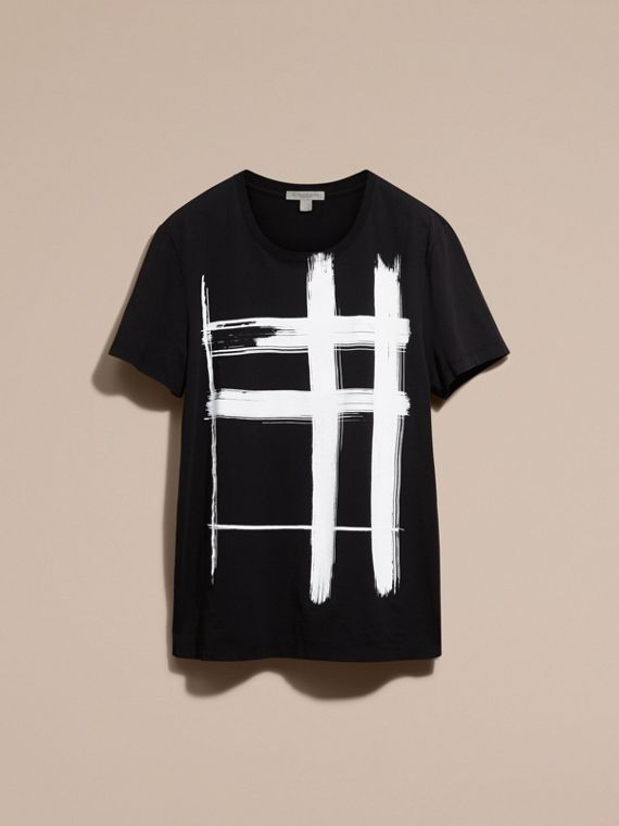 Black Brushstroke Check Print Cotton T-Shirt Black - cell image 3
