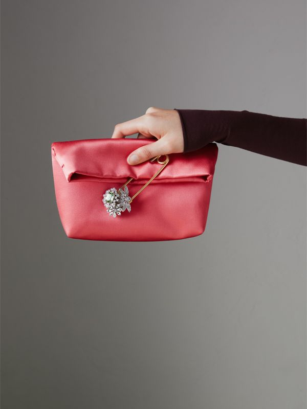 The Small Pin Clutch in Satin in Pale Cinnamon - Women | Burberry - cell image 3