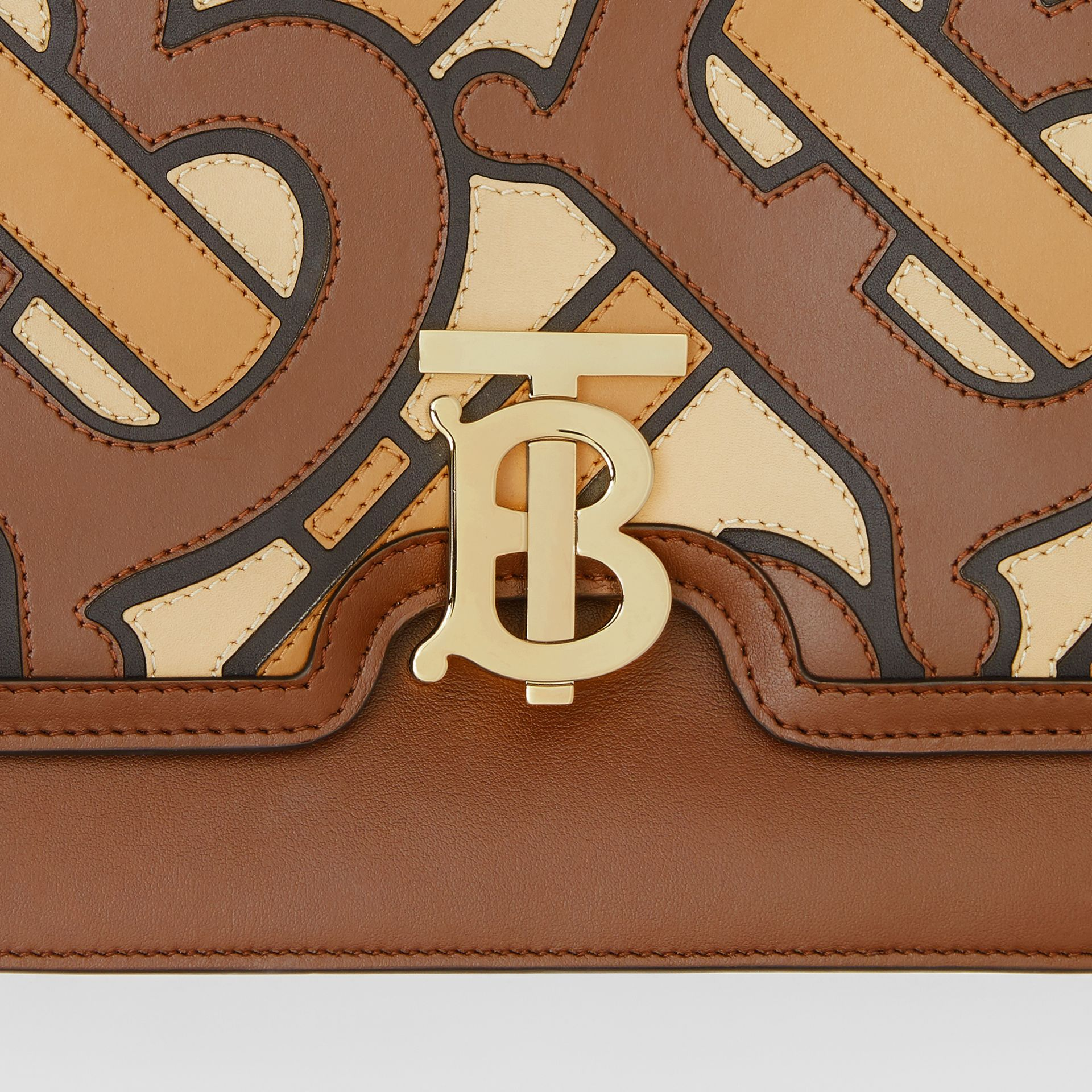 Medium Monogram Appliqué Leather TB Bag in Brown - Women | Burberry - gallery image 1