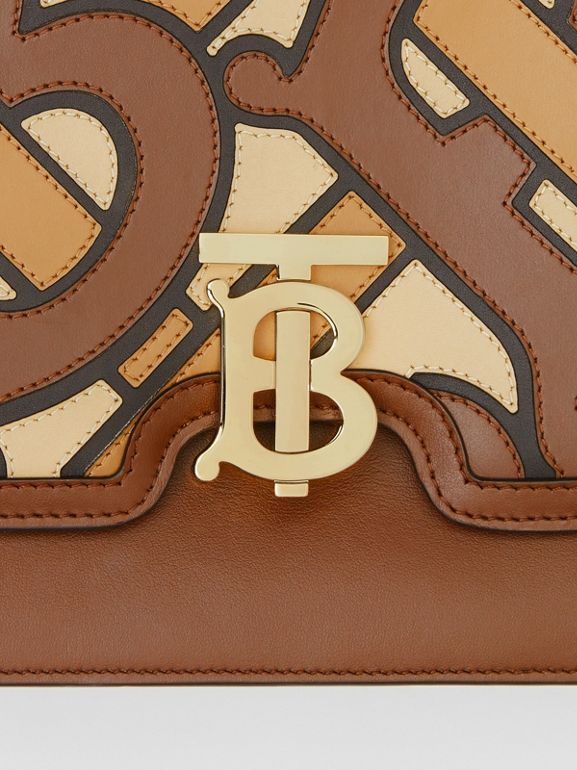 Medium Monogram Appliqué Leather TB Bag in Brown - Women | Burberry - cell image 1