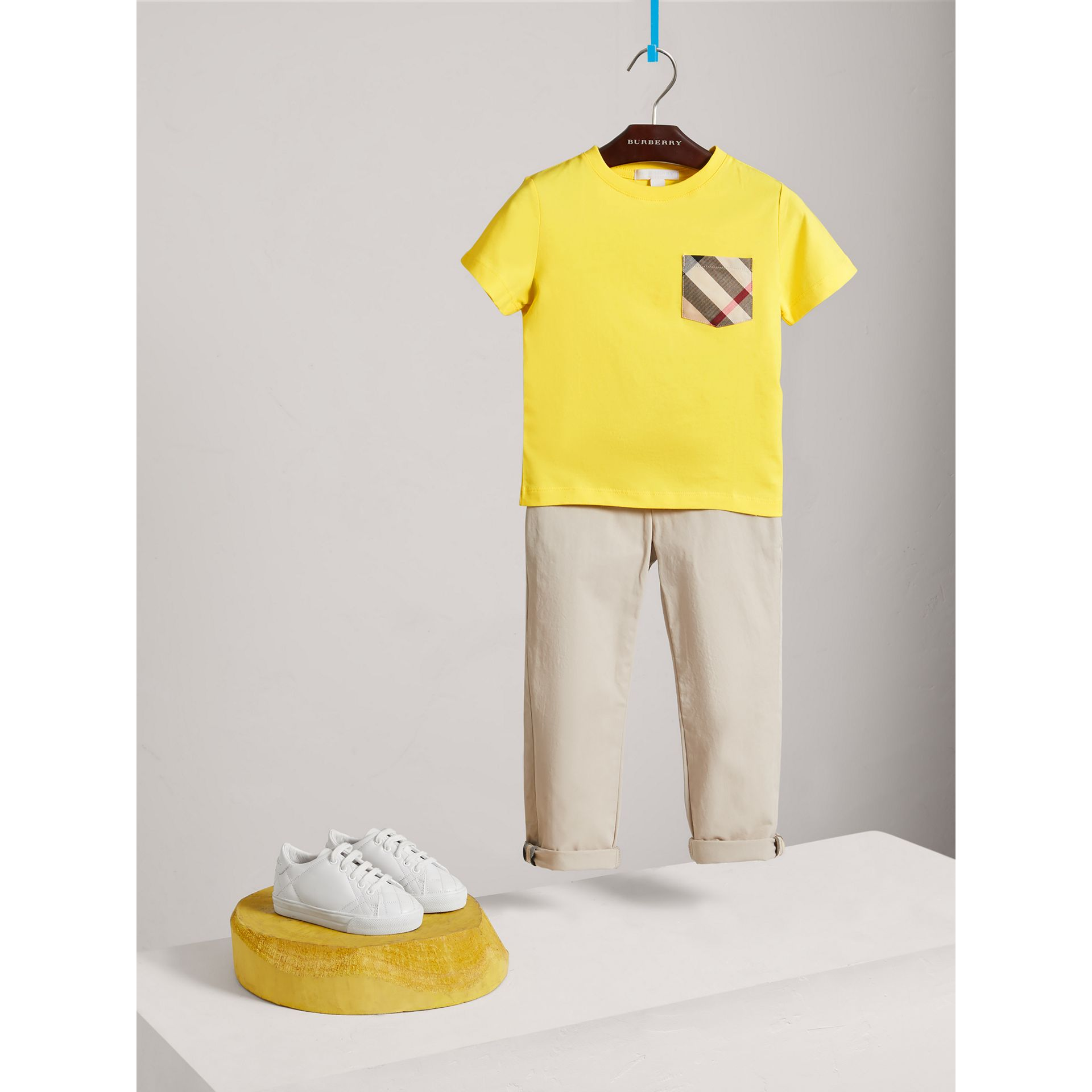 Check Pocket Cotton T-shirt in Bright Citrus Yellow - Boy | Burberry - gallery image 0