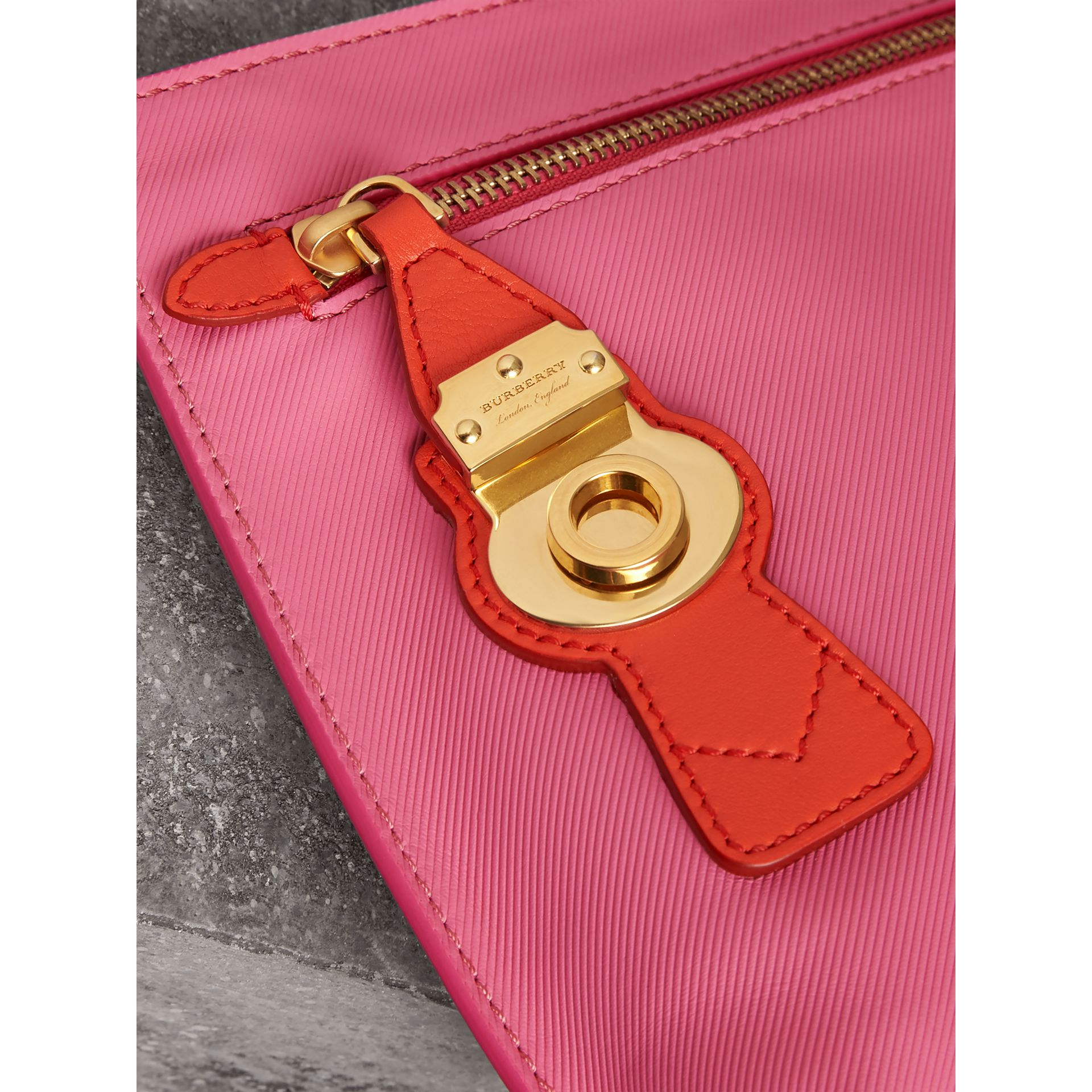Two-tone Trench Leather Wristlet Pouch in Rose Pink - Women | Burberry - gallery image 1