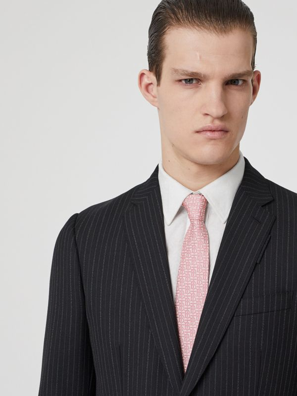Classic Cut Monogram Silk Jacquard Tie in Alabaster Pink - Men | Burberry Singapore - cell image 2