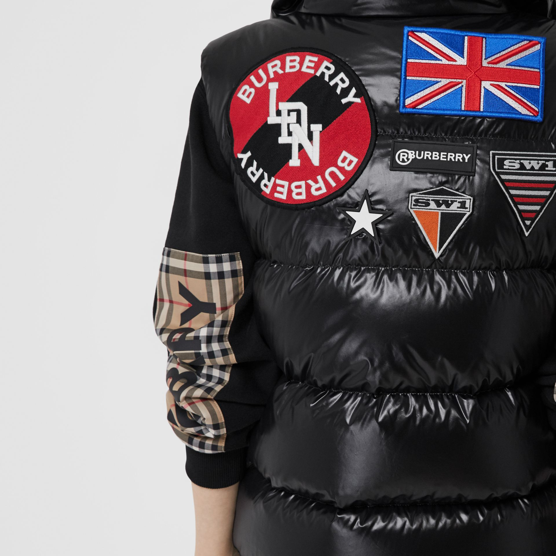 Logo Graphic Puffer Gilet in Black - Women | Burberry - gallery image 1