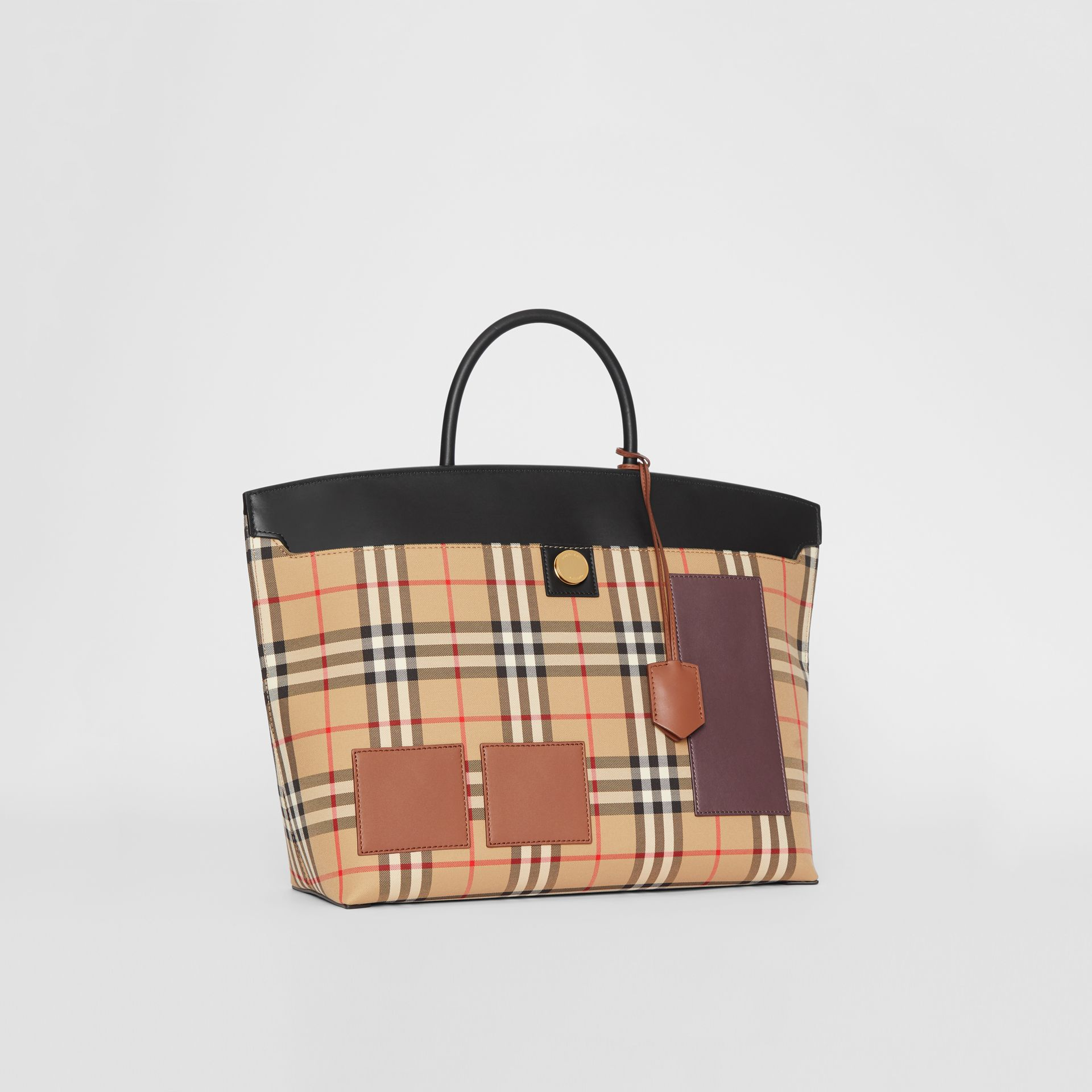 Vintage Check and Leather Society Top Handle Bag in Archive Beige - Women | Burberry United States - gallery image 6