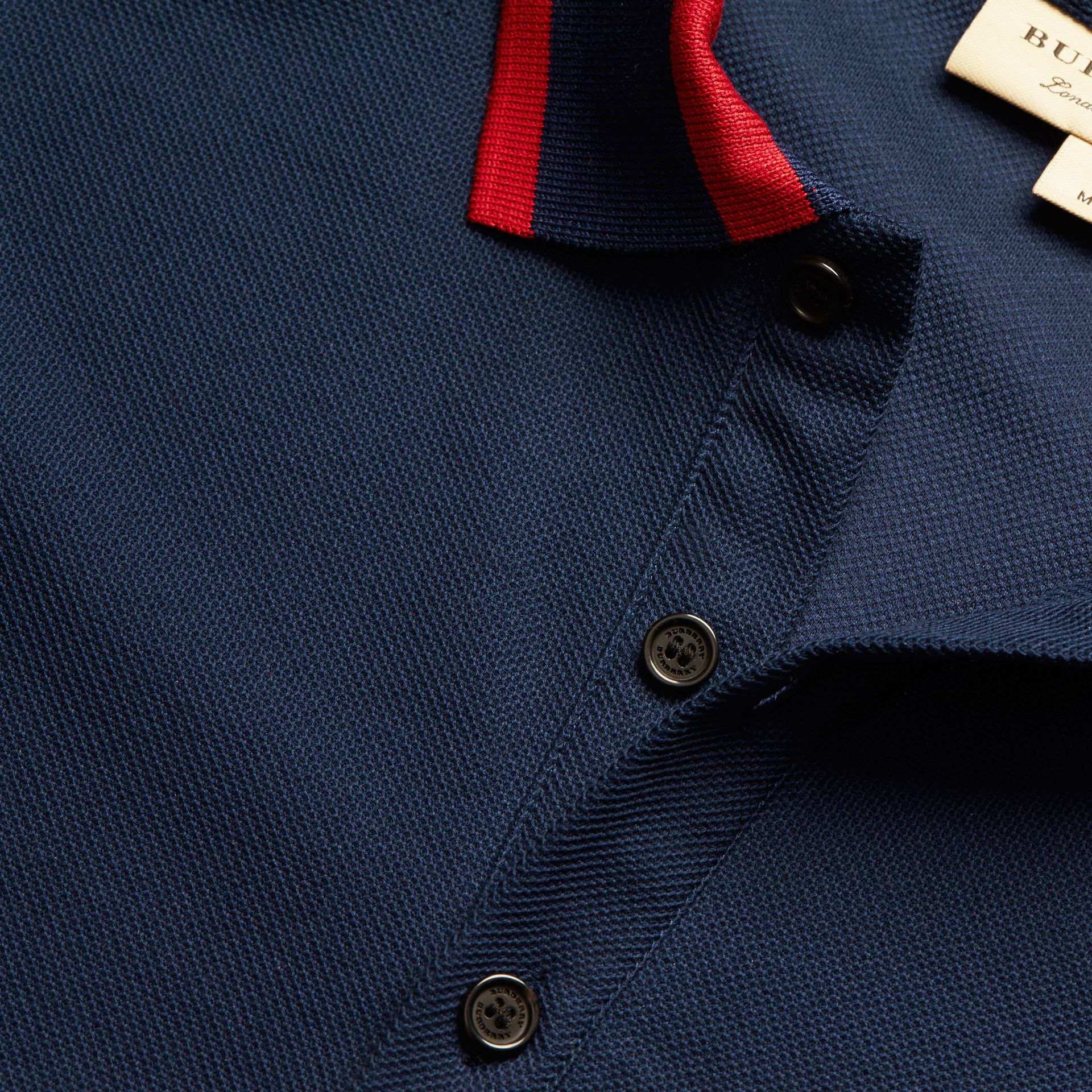 Striped Collar Cotton Piqué Polo Shirt Navy Blue - gallery image 2