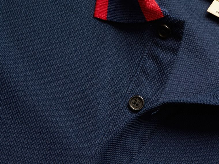Striped Collar Cotton Piqué Polo Shirt in Navy Blue - cell image 1
