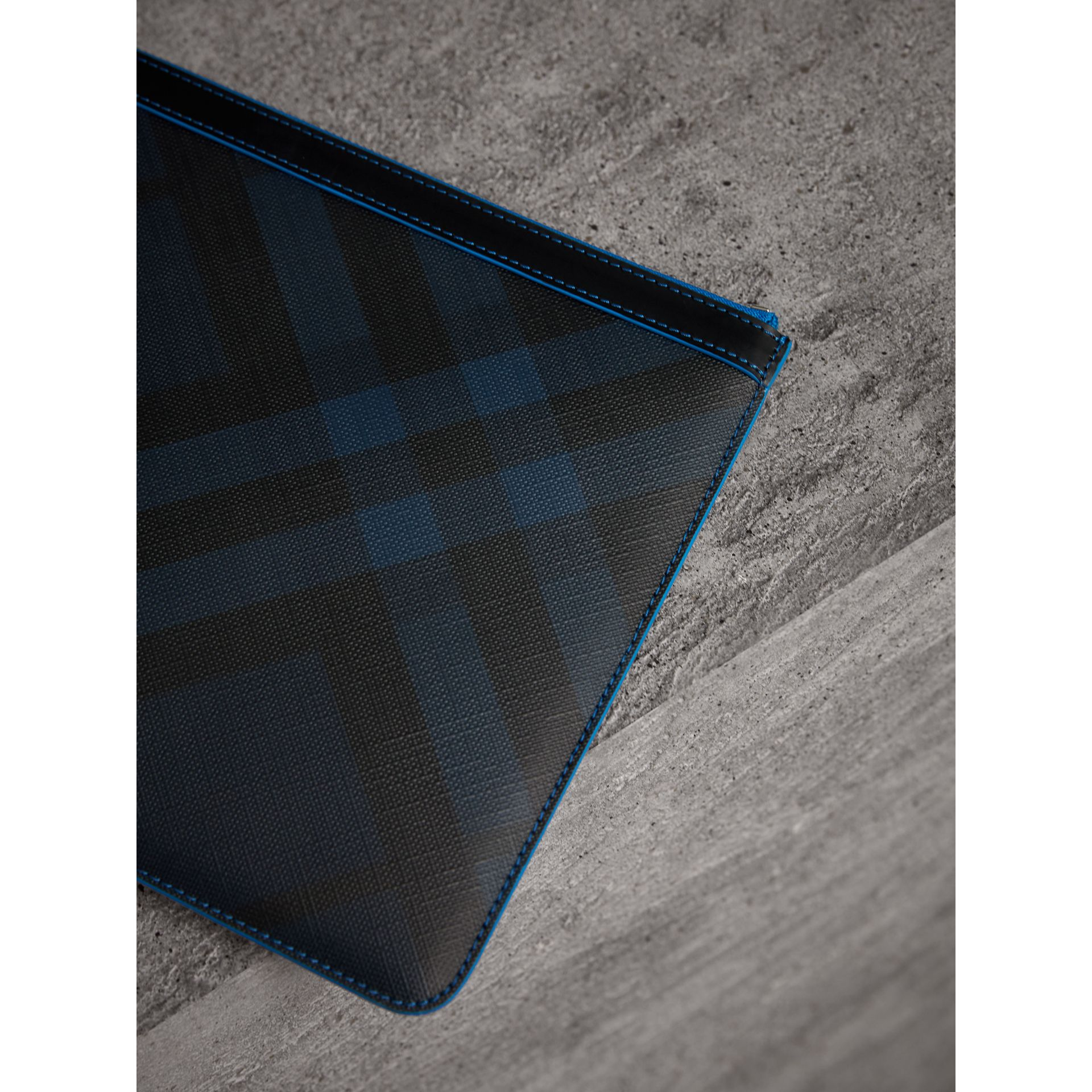 Zip-top London Check Pouch in Navy/blue - Men | Burberry - gallery image 2