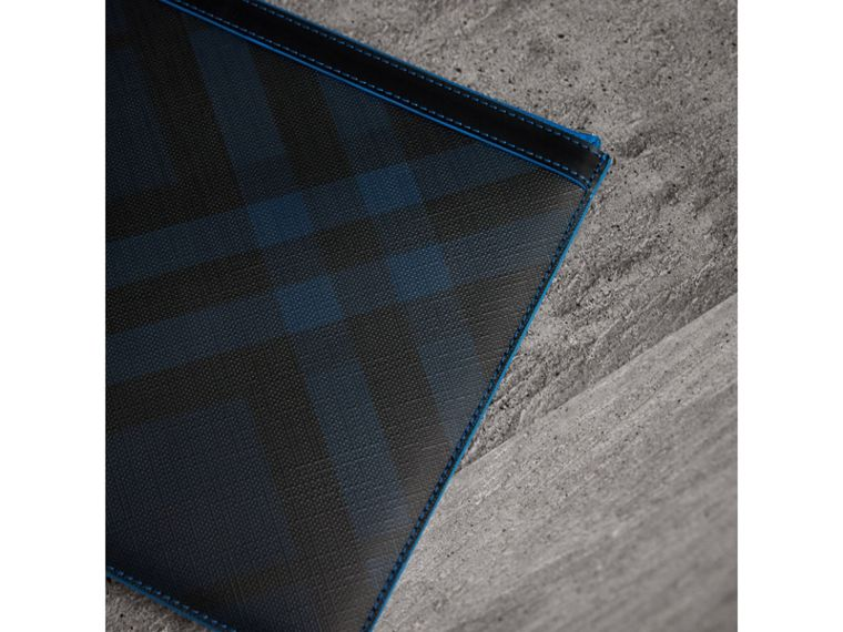 Zip-top London Check Pouch in Navy/blue - Men | Burberry - cell image 1