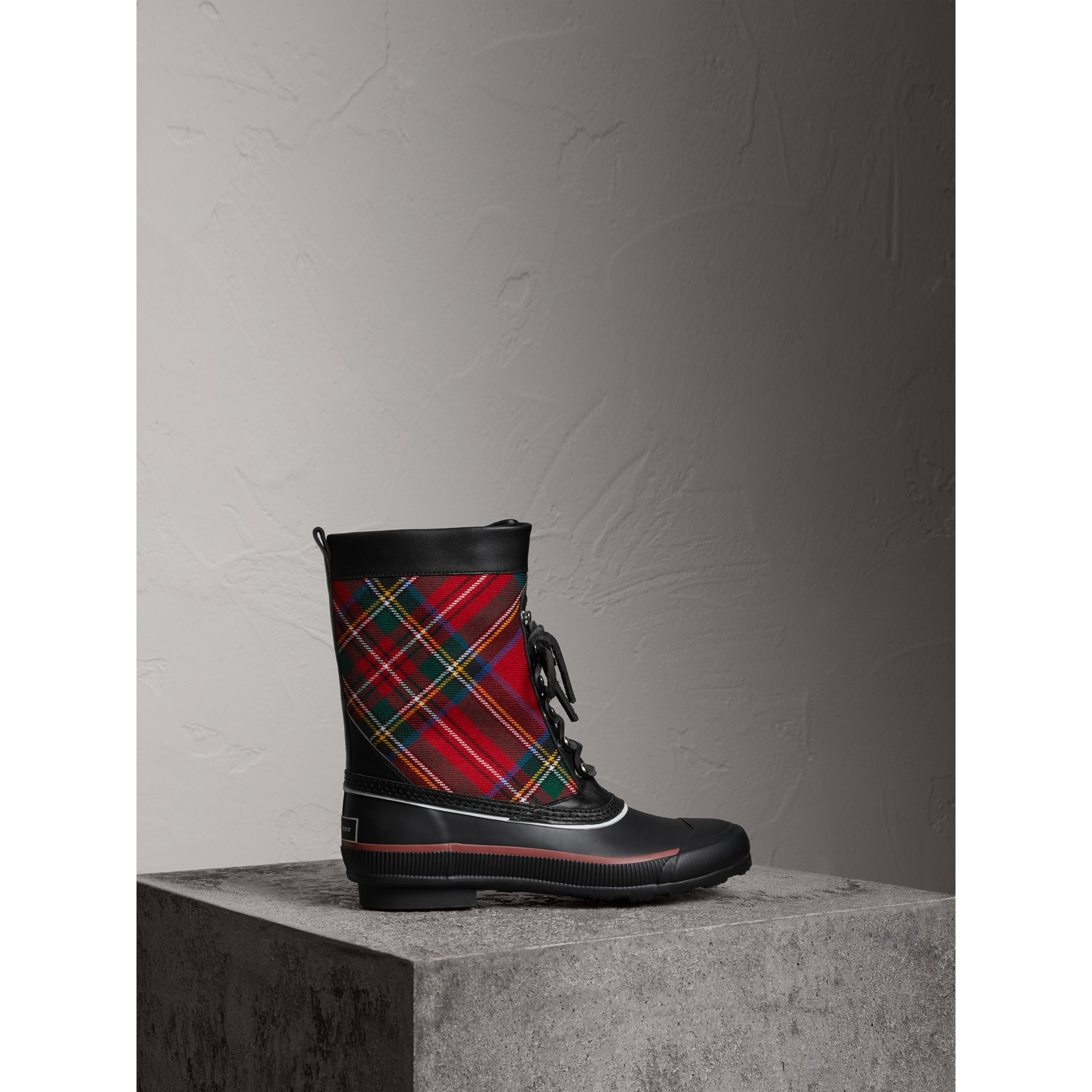 Lace-up Tartan Wool and Rubber Rain Boots in Bright Red - Women | Burberry Australia - gallery image 0