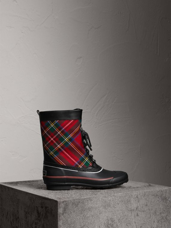 Lace-up Tartan Wool and Rubber Rain Boots in Bright Red
