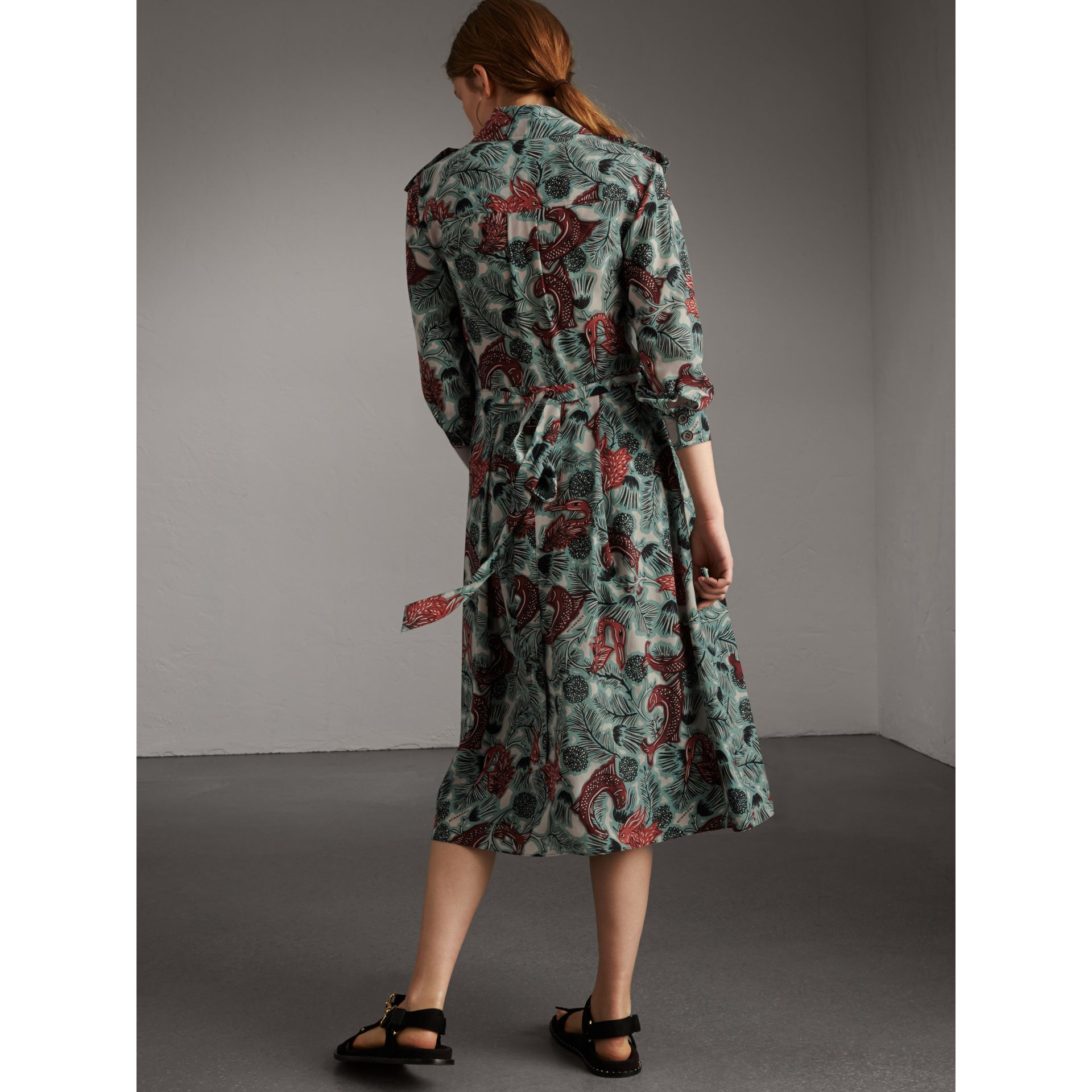 Beasts Print Silk Wrap Dress - Women | Burberry Australia - gallery image 3