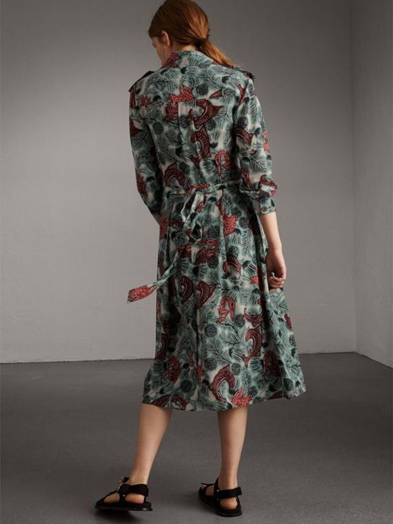 Beasts Print Silk Wrap Dress in Pale Celadon - Women | Burberry - cell image 2
