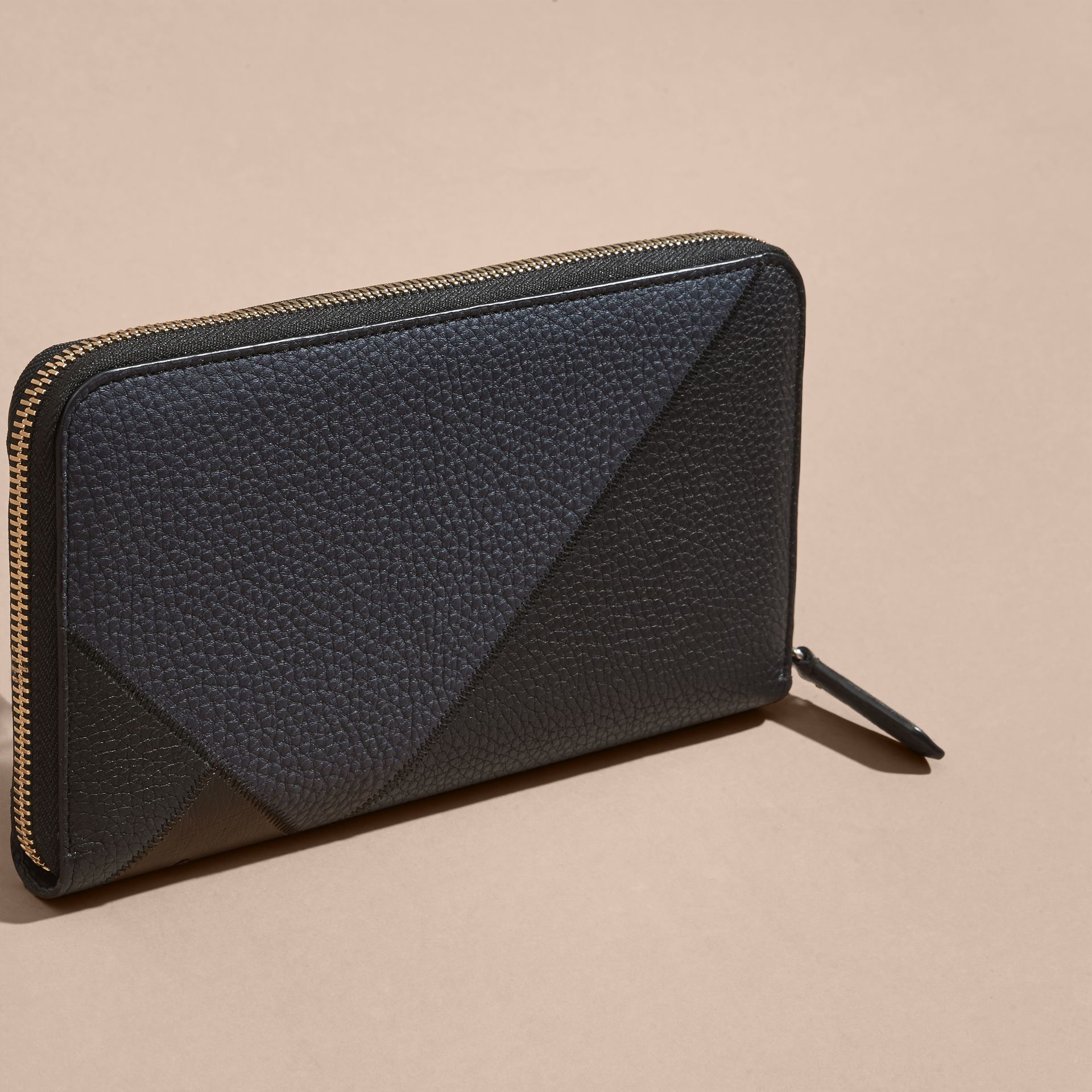 Grainy and Ostrich Leather Ziparound Wallet - gallery image 4