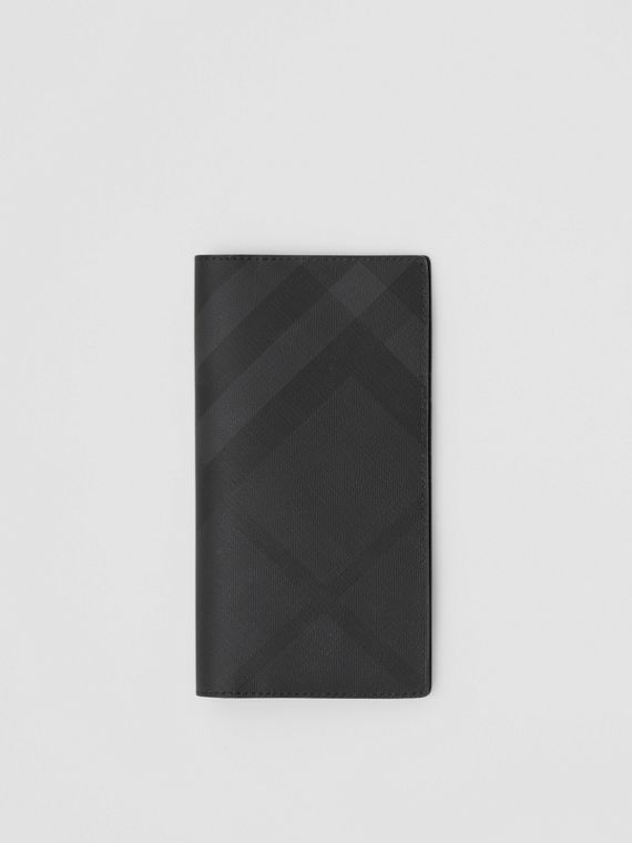 London Check and Leather Continental Wallet in Dark Charcoal