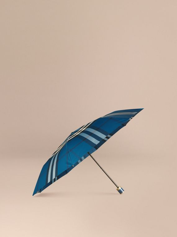 Check Folding Umbrella Marine Blue