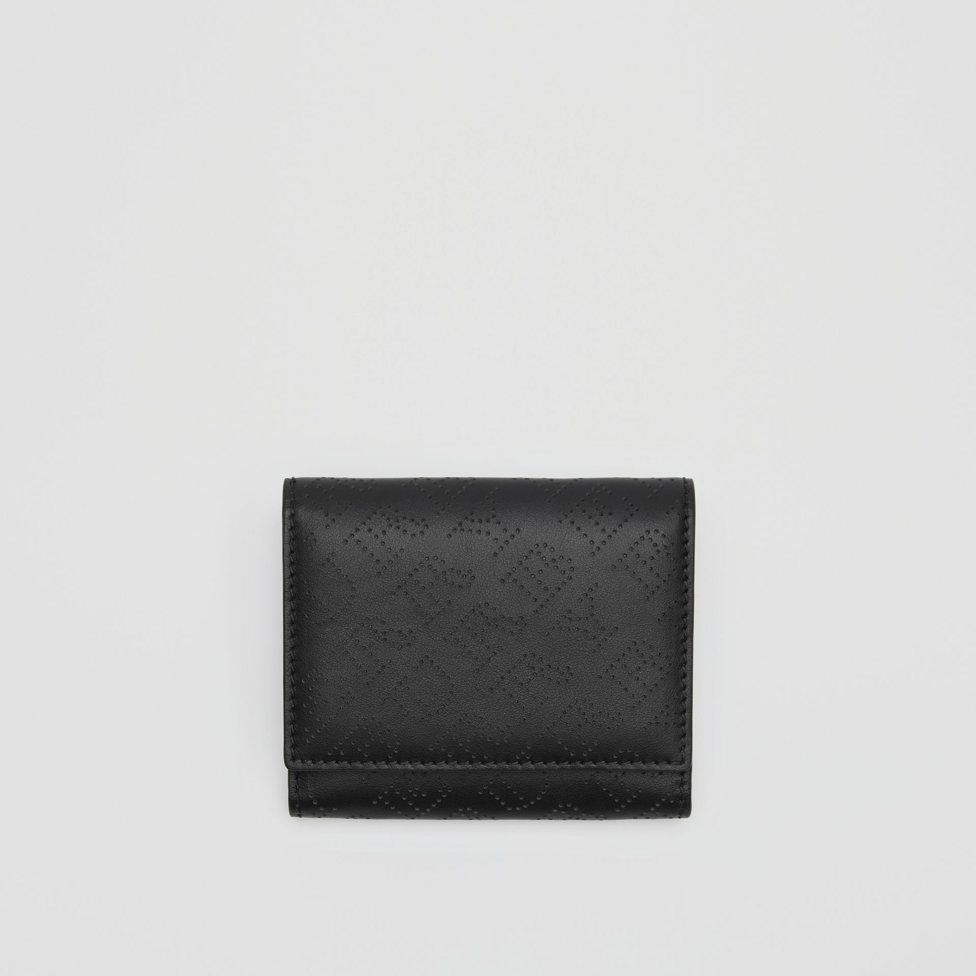 Small Perforated Logo Leather Wallet in Black - Women | Burberry Singapore - gallery image 0