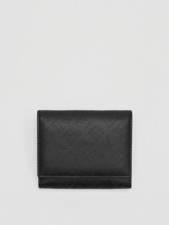 Kleine Lederbrieftasche mit perforiertem Logo (Schwarz)