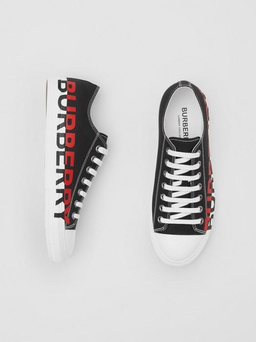 Burberry Logo Print Cotton Gabardine Sneakers