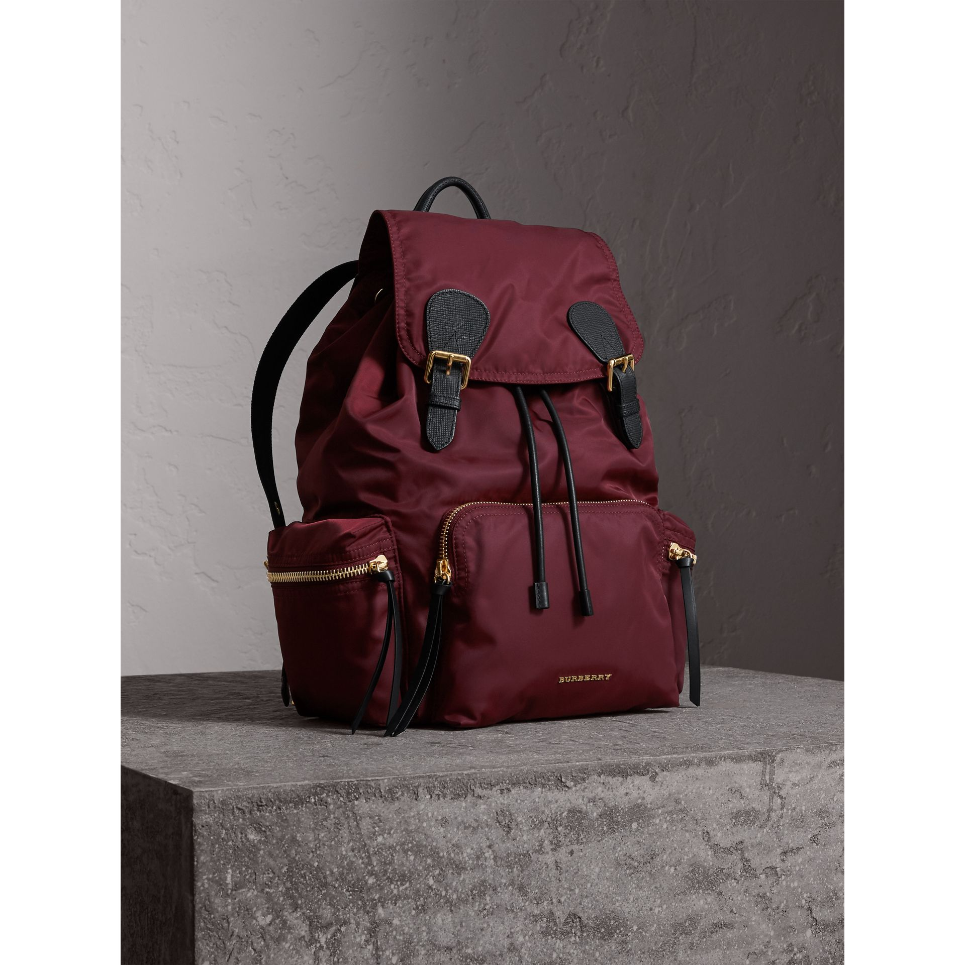 The Large Rucksack in Technical Nylon and Leather in Burgundy Red - gallery image 8