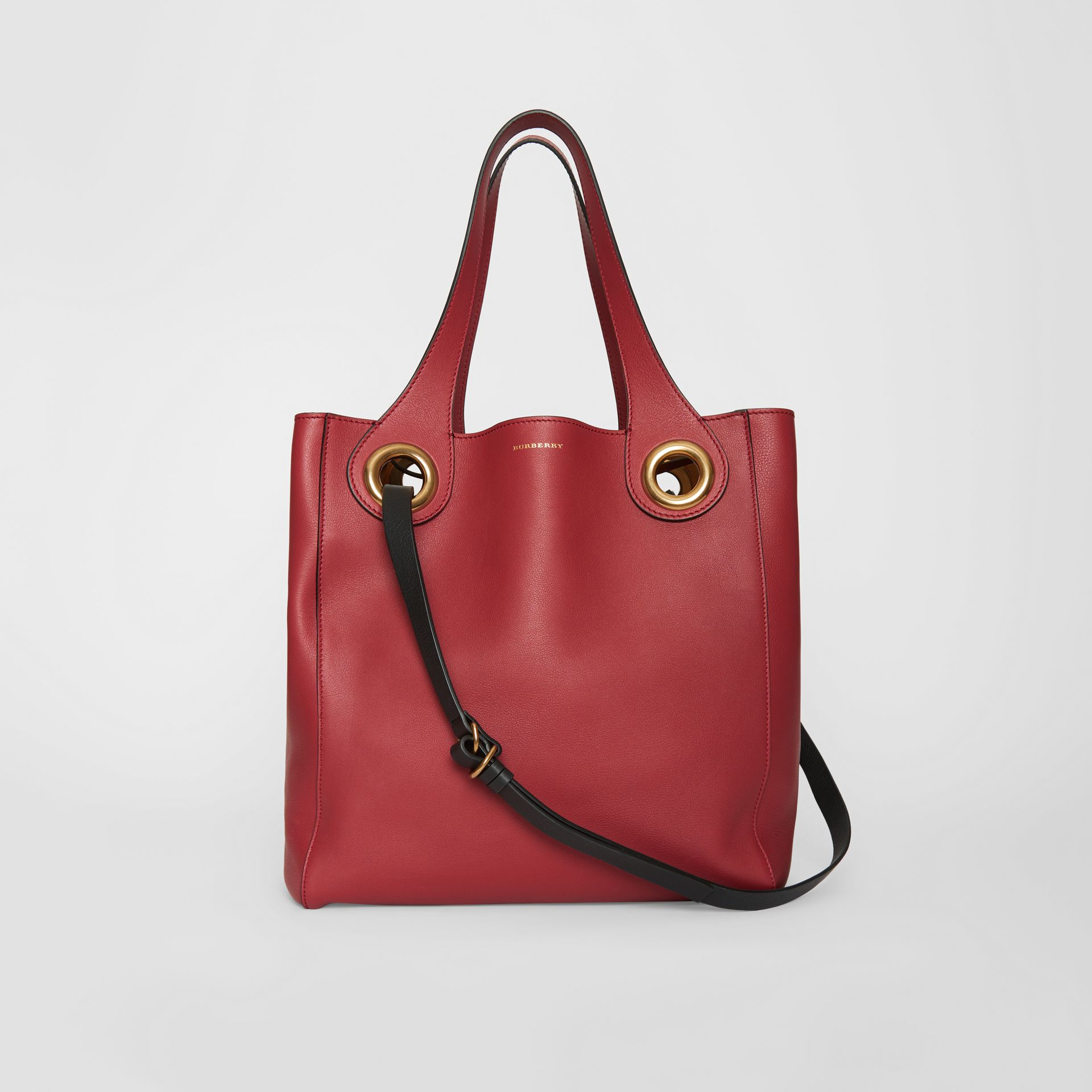 The Medium Leather Grommet Detail Tote in Crimson - Women | Burberry - gallery image 0