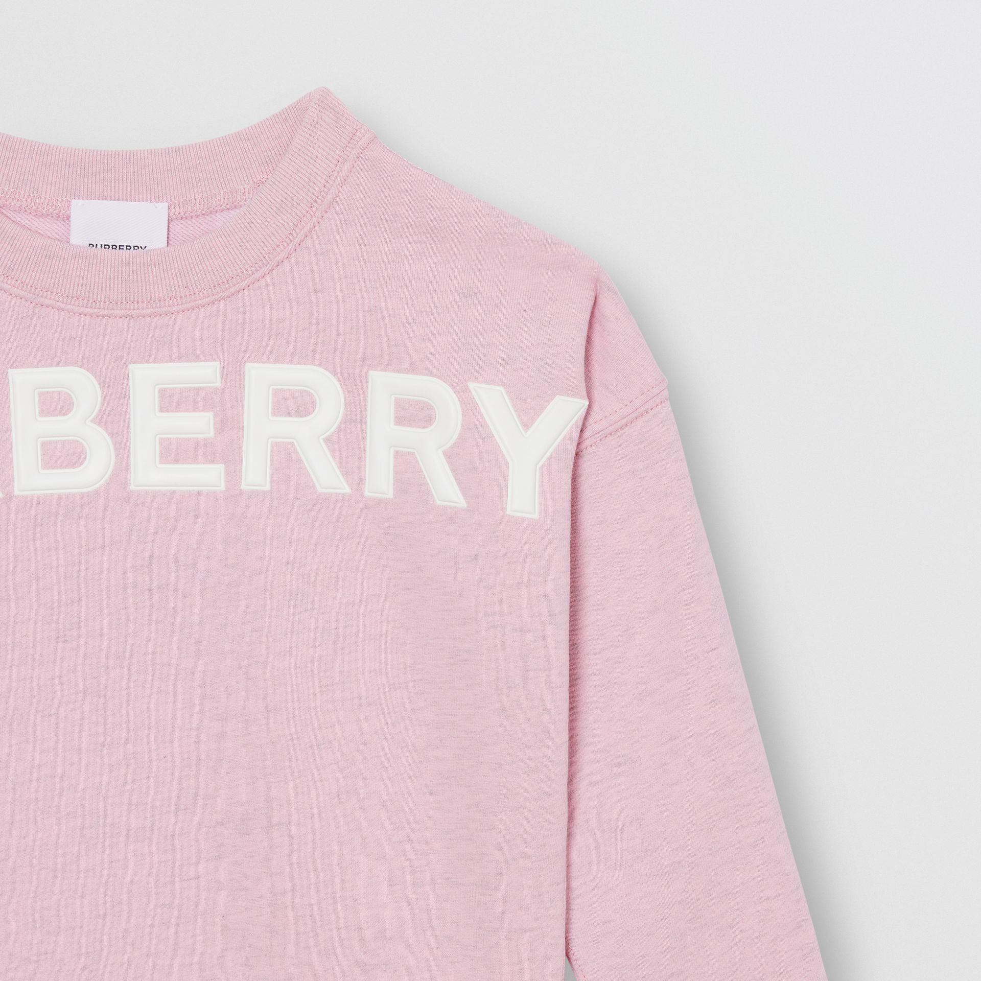 Logo Detail Cotton Sweatshirt in Pale Neon Pink - Girl | Burberry - gallery image 4