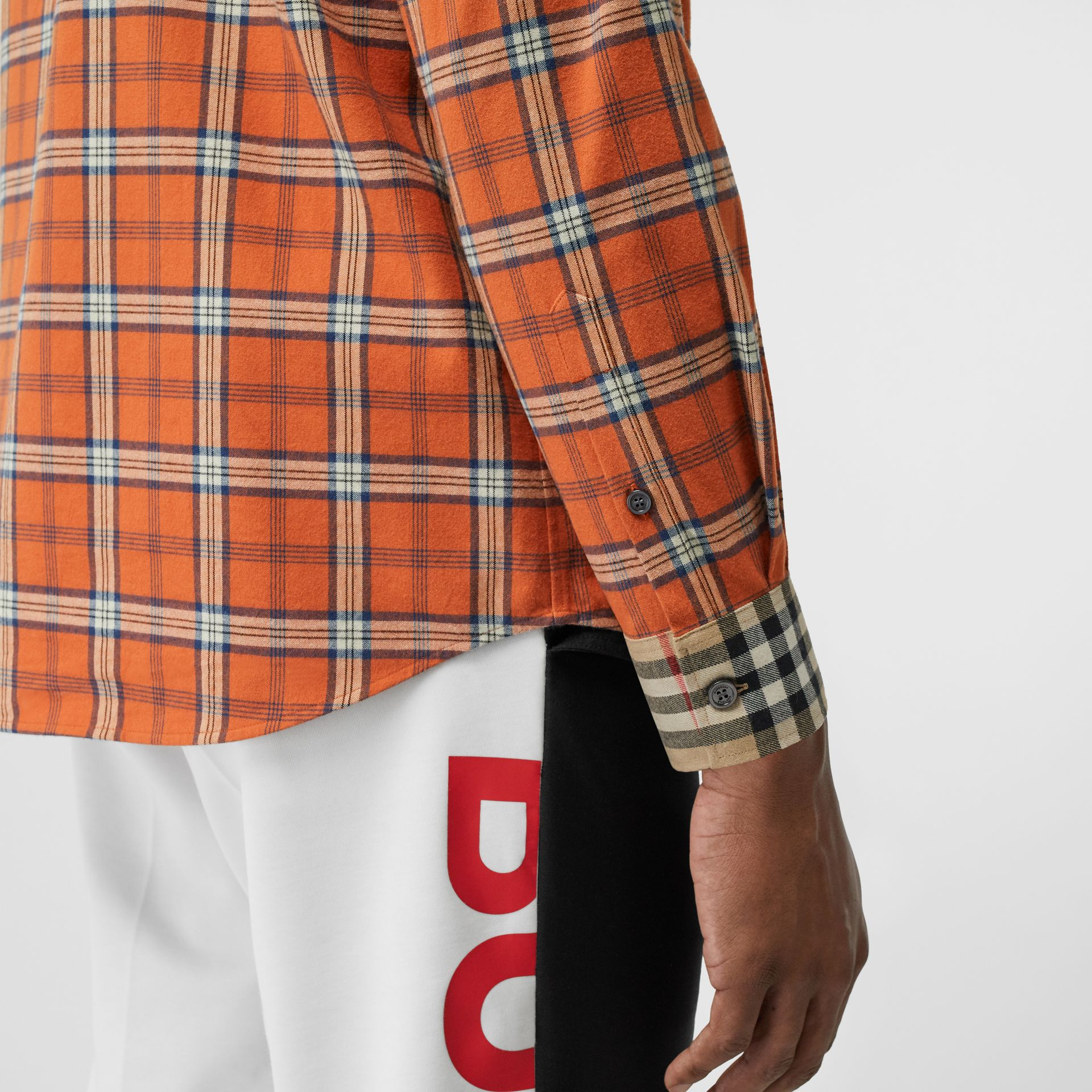 Contrast Check Cotton Flannel Oversized Shirt in Orange - Men | Burberry - gallery image 4
